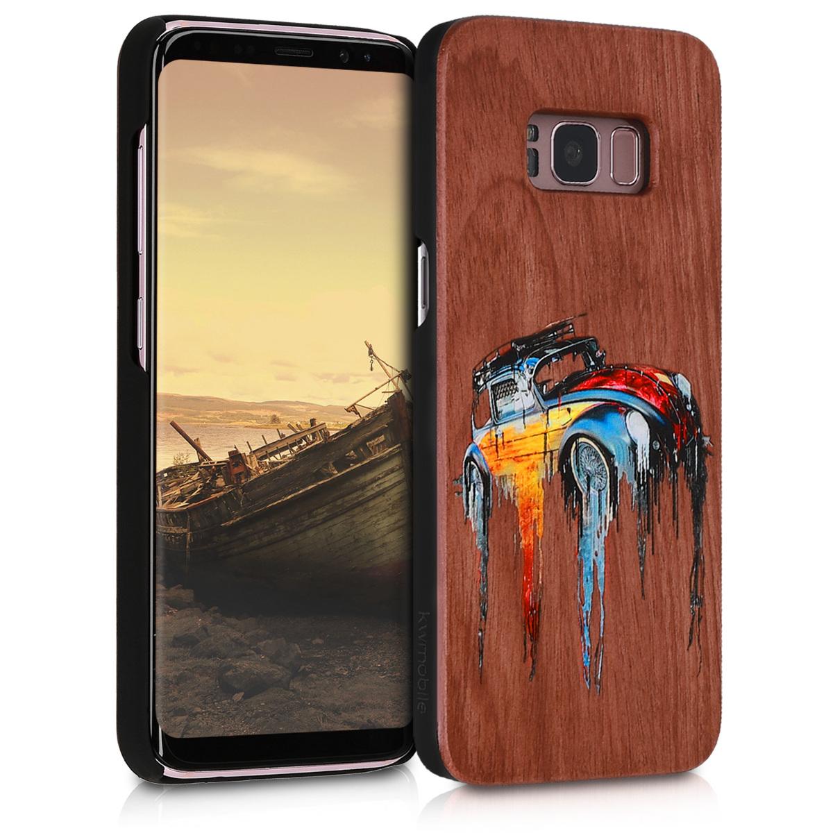 KW Ξύλινη Θήκη Samsung Galaxy S8 - Καφέ/ Πολύχρωμο αμάξι (46074.04)