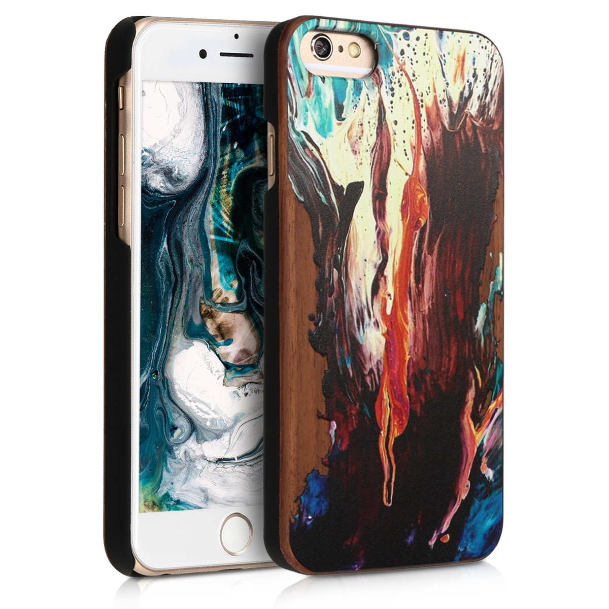 KW Σκληρή Ξύλινη Θήκη Apple iPhone 6 / 6S - Watercolor Waves - Orange / Turquoise / Brown (46078.04)