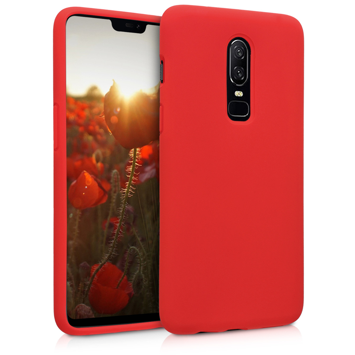 KW Θήκη Σιλικόνης OnePlus 6 - Soft Flexible Rubber Protective Cover - Red - (46122.09)