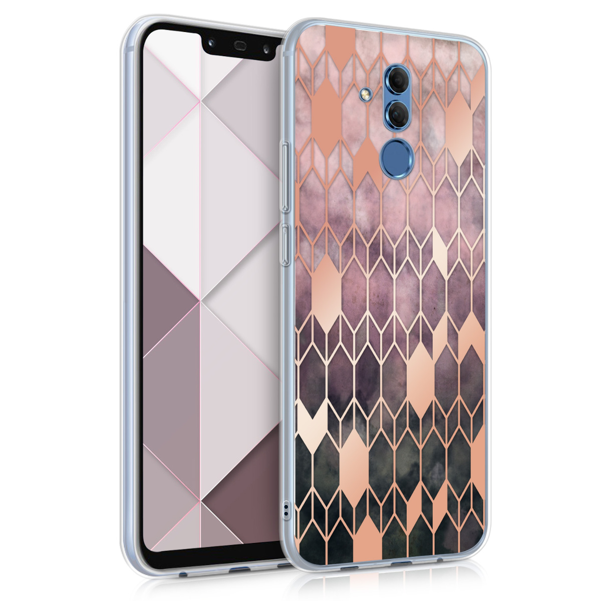 KW Θήκη Σιλικόνης Huawei Mate 20 Lite - Dark Pink / Rose Gold (46201.03)