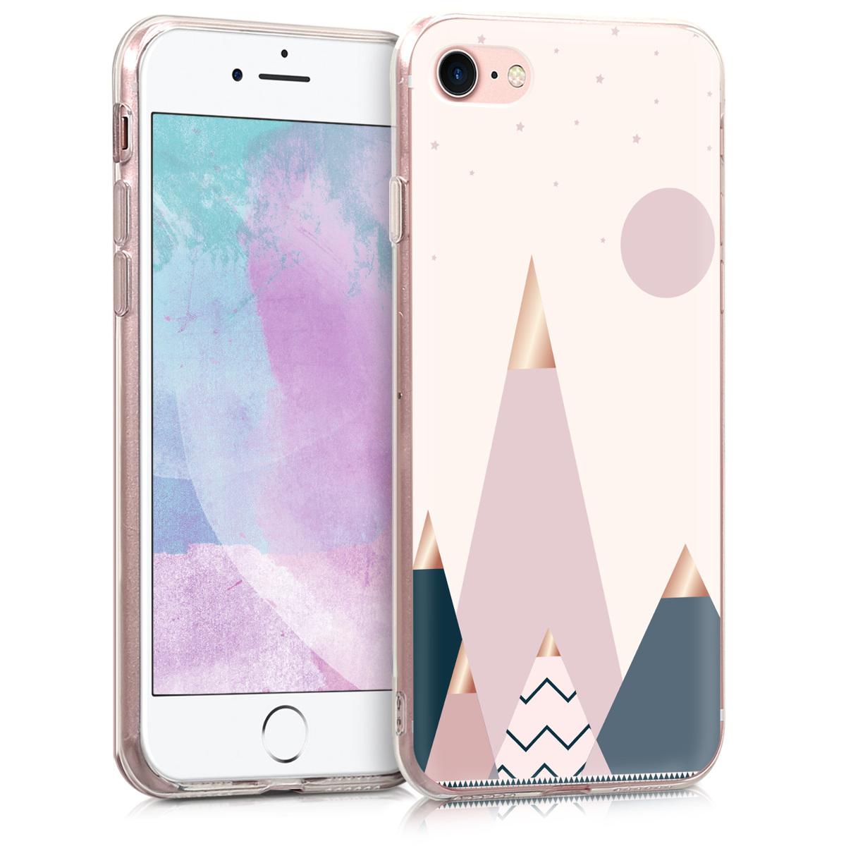 KW Θήκη Σιλικόνης iPhone 7 / 8 - Rose Gold / Blue / Light Pink (46227.35)
