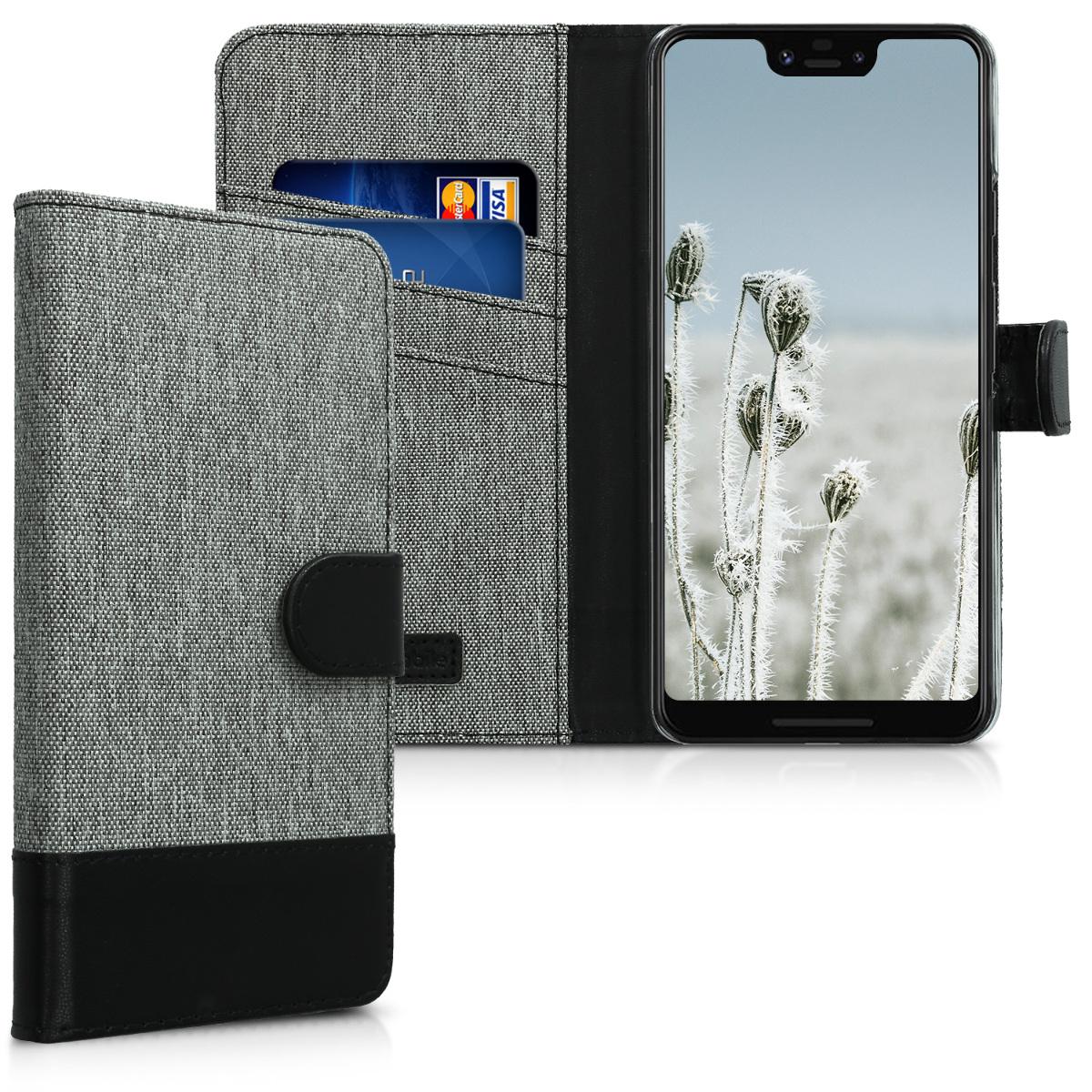 KW Θήκη-Πορτοφόλι Google Pixel 3 XL - Γκρι/Μαύρο- καμβάς (46245.22)
