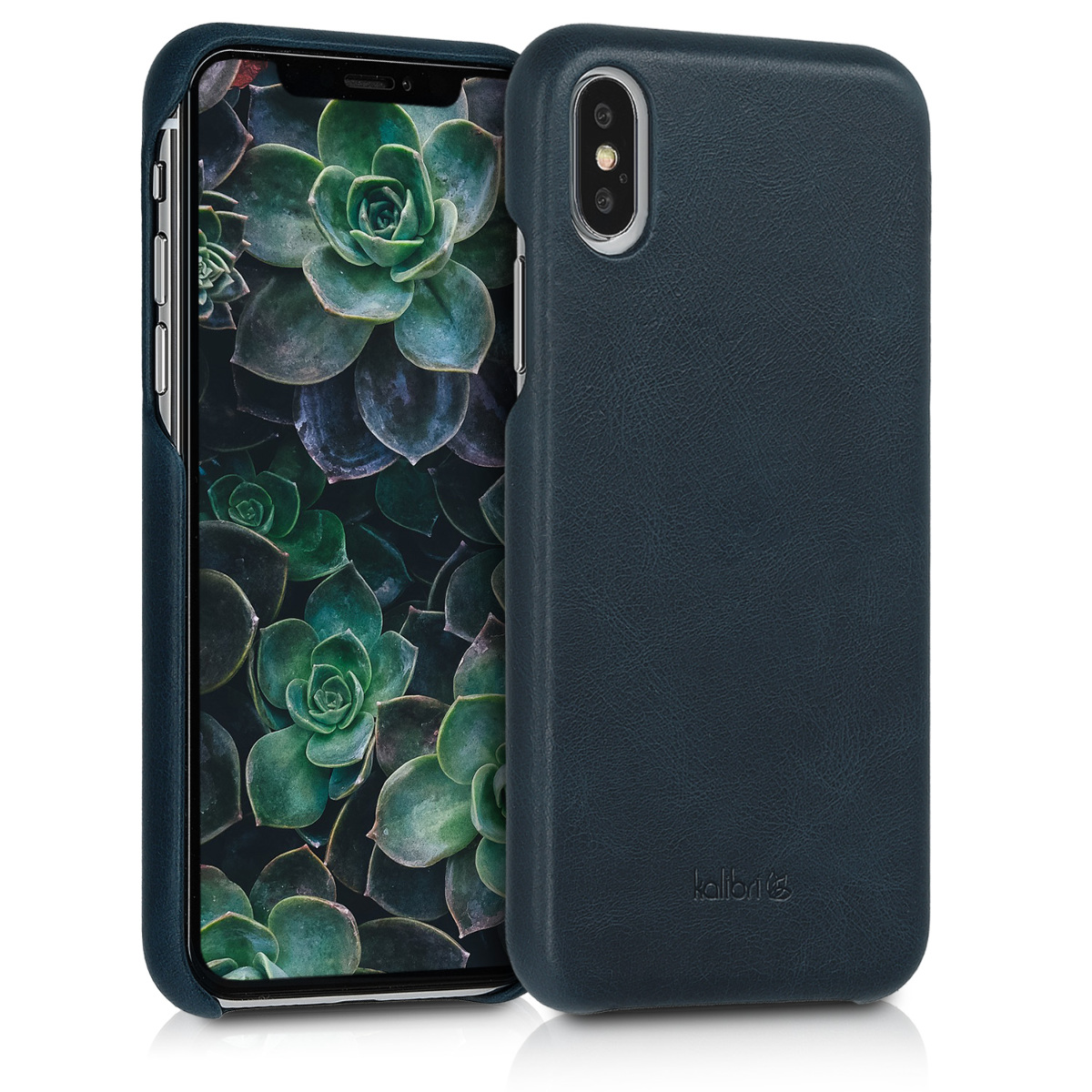 Kalibri Σκληρή Δερμάτινη Θήκη iPhone XS - Dark Blue (46274.17)