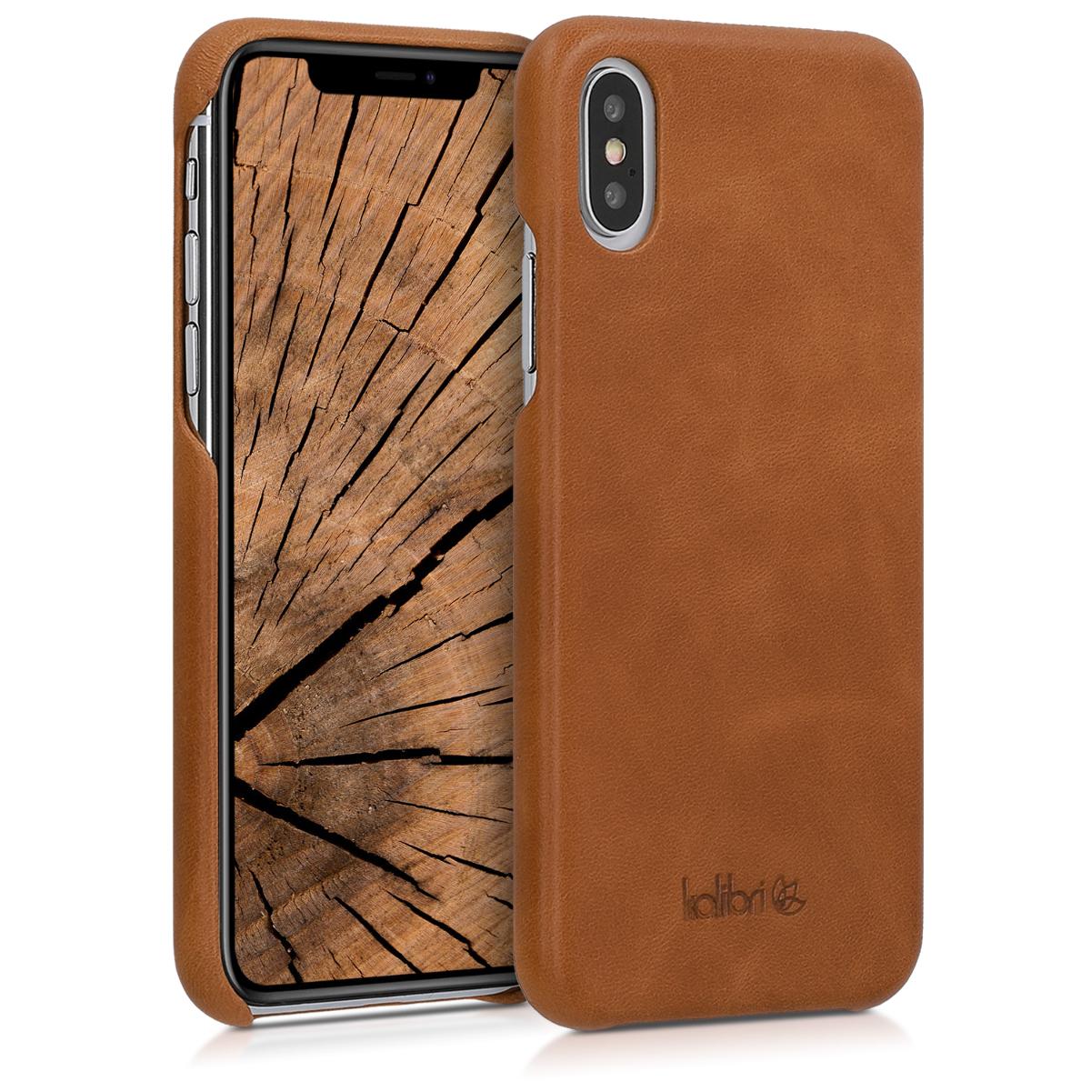 Kalibri Σκληρή Δερμάτινη Θήκη iPhone XS  - Cognac (46274.83)