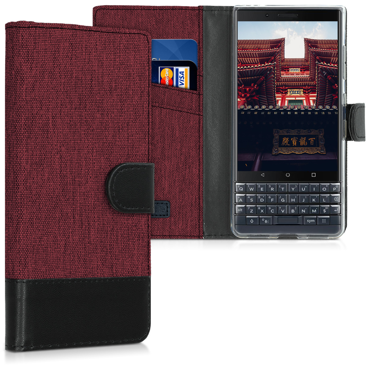 KW Θήκη - Πορτοφόλι Blackberry KEY2 LE (Lite) - Dark Red / Black (46277.20)