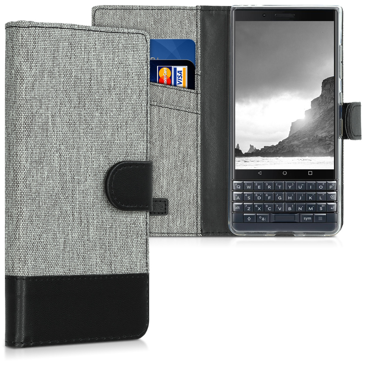 KW Θήκη - Πορτοφόλι Blackberry KEY2 LE (Lite) -  Grey / Black (46277.22)