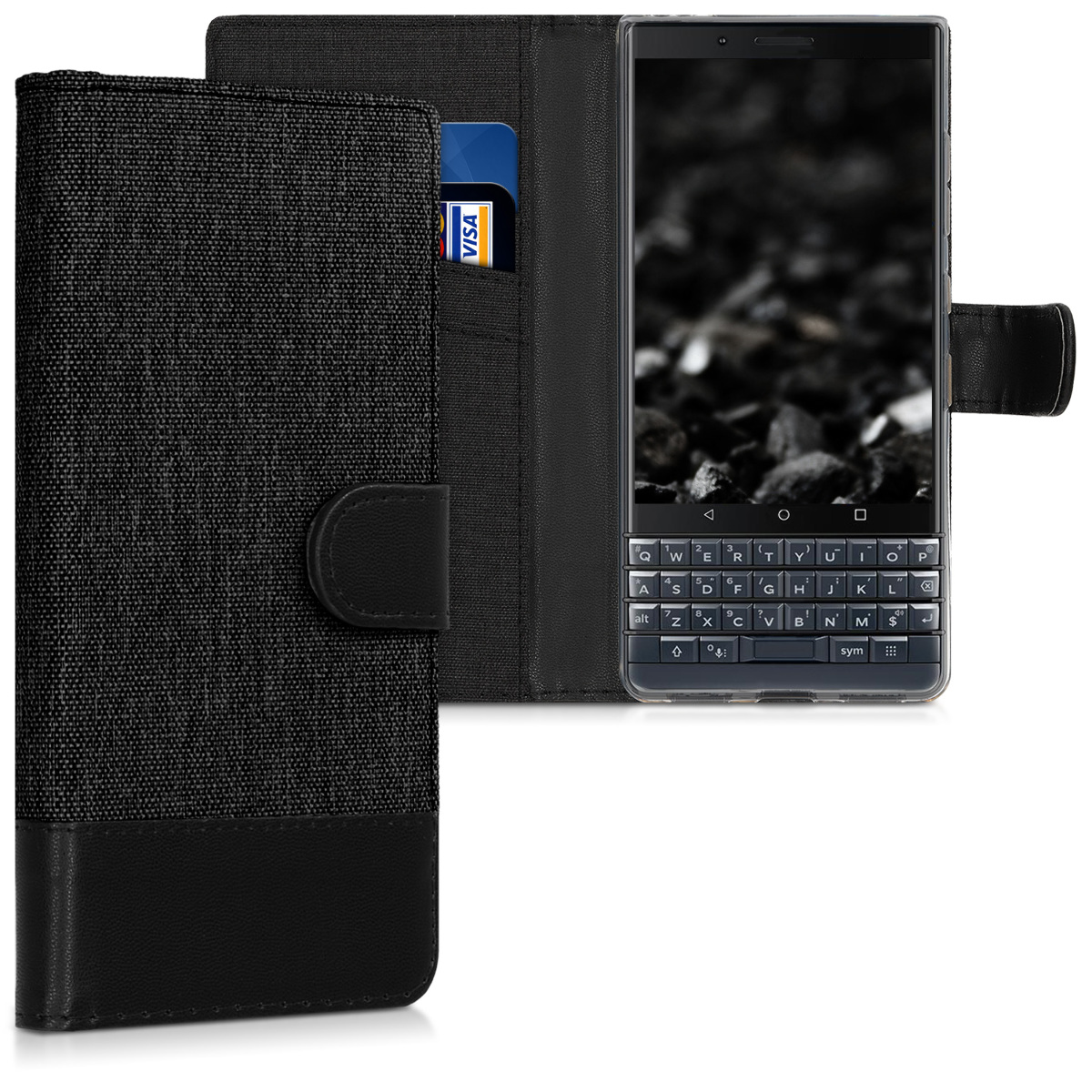KW Θήκη - Πορτοφόλι Blackberry KEY2 LE (Lite) - Anthracite / Black (46277.73)