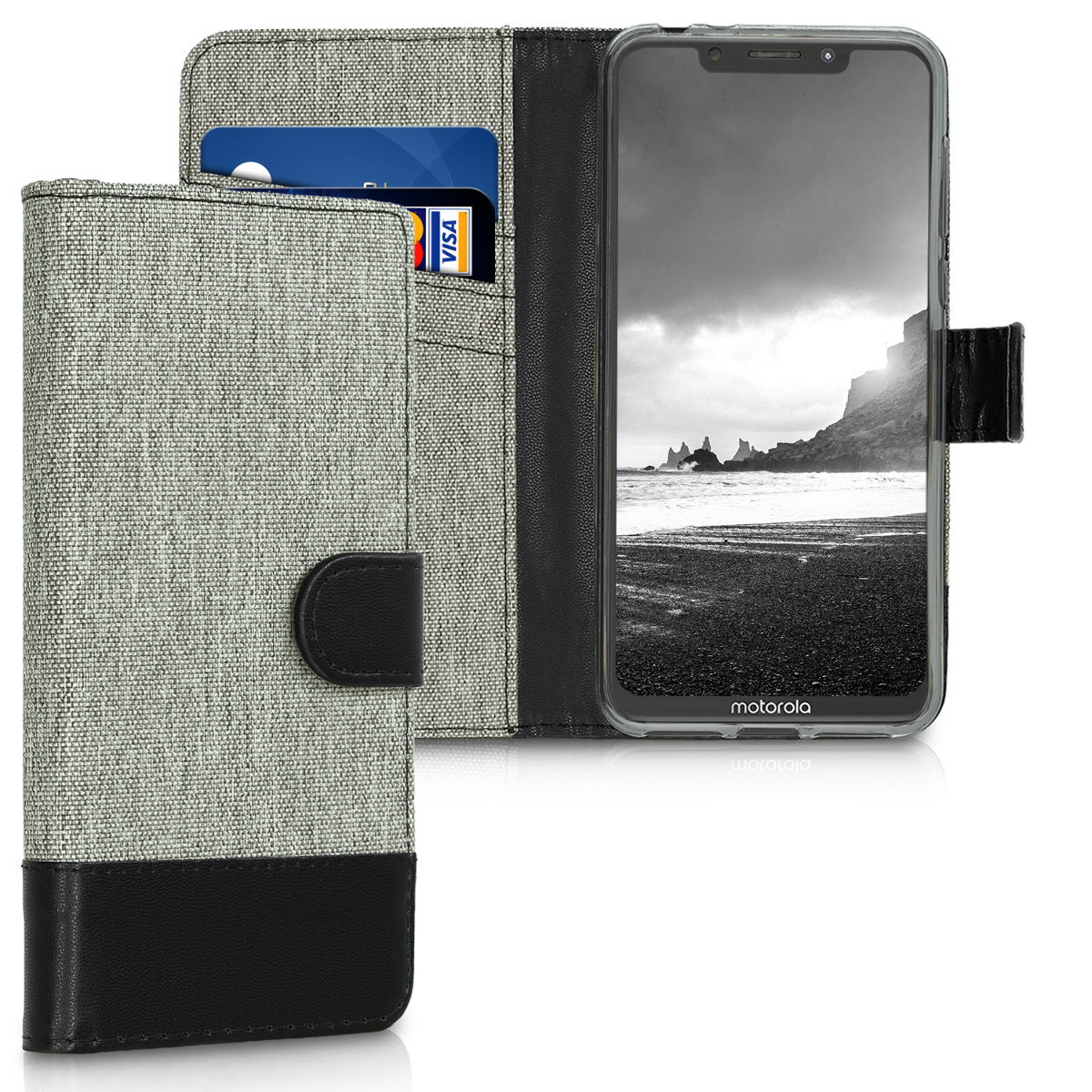 KW Θήκη Πορτοφόλι Motorola One - Grey / Black Canvas (46297.22)