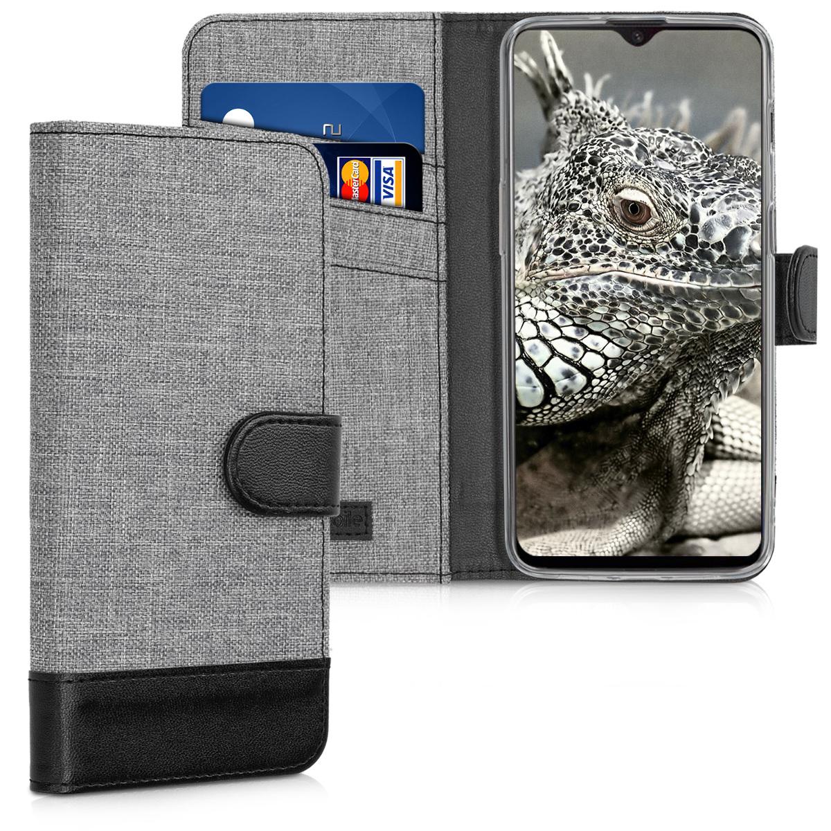 KW Θήκη-Πορτοφόλι OnePlus 6T - Grey / Black (46319.22)