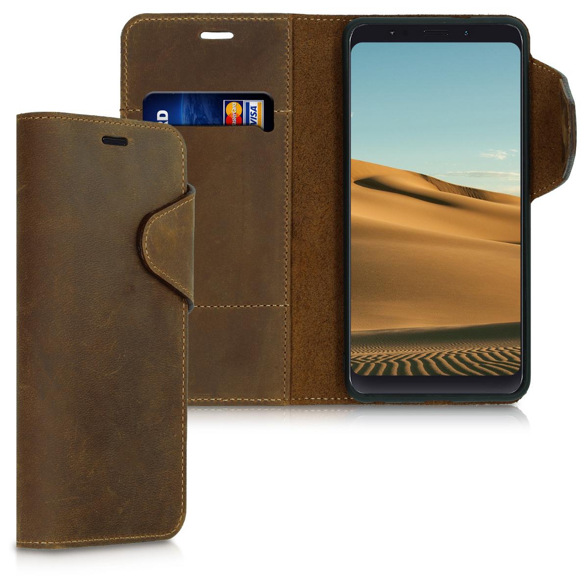Kalibri Δερμάτινη Suede Θήκη - Πορτοφόλι Xiaomi Redmi Note 5 -  Brown (46338.05)