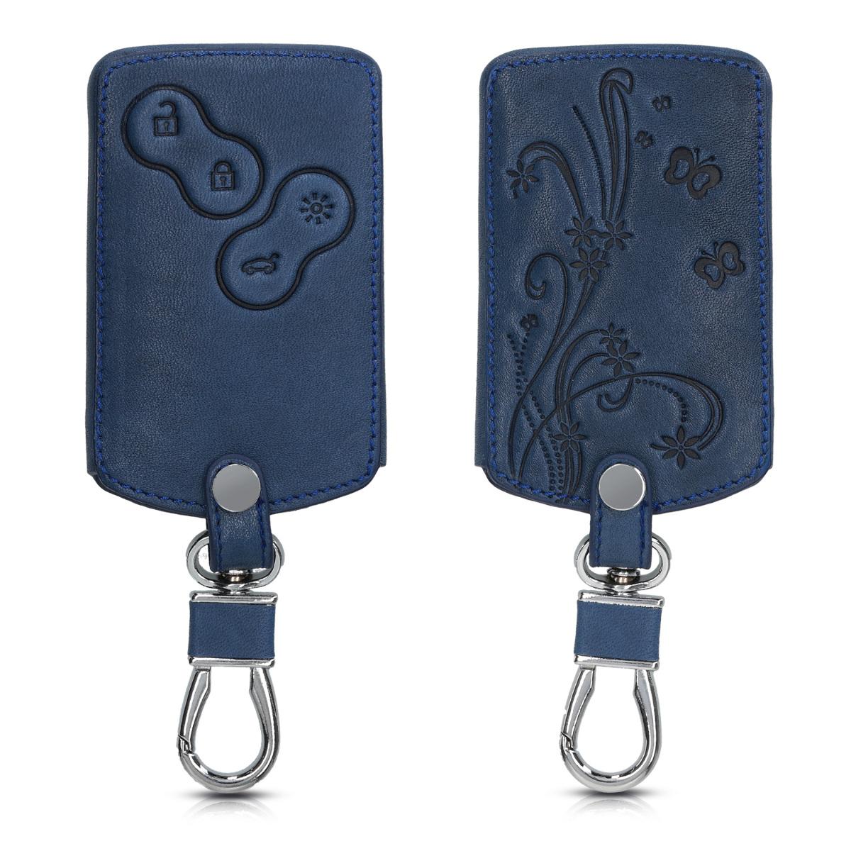 KW Θήκη Κλειδιού Renault - PU Leather - 4 Κουμπιά - Dark Blue (46356.11)