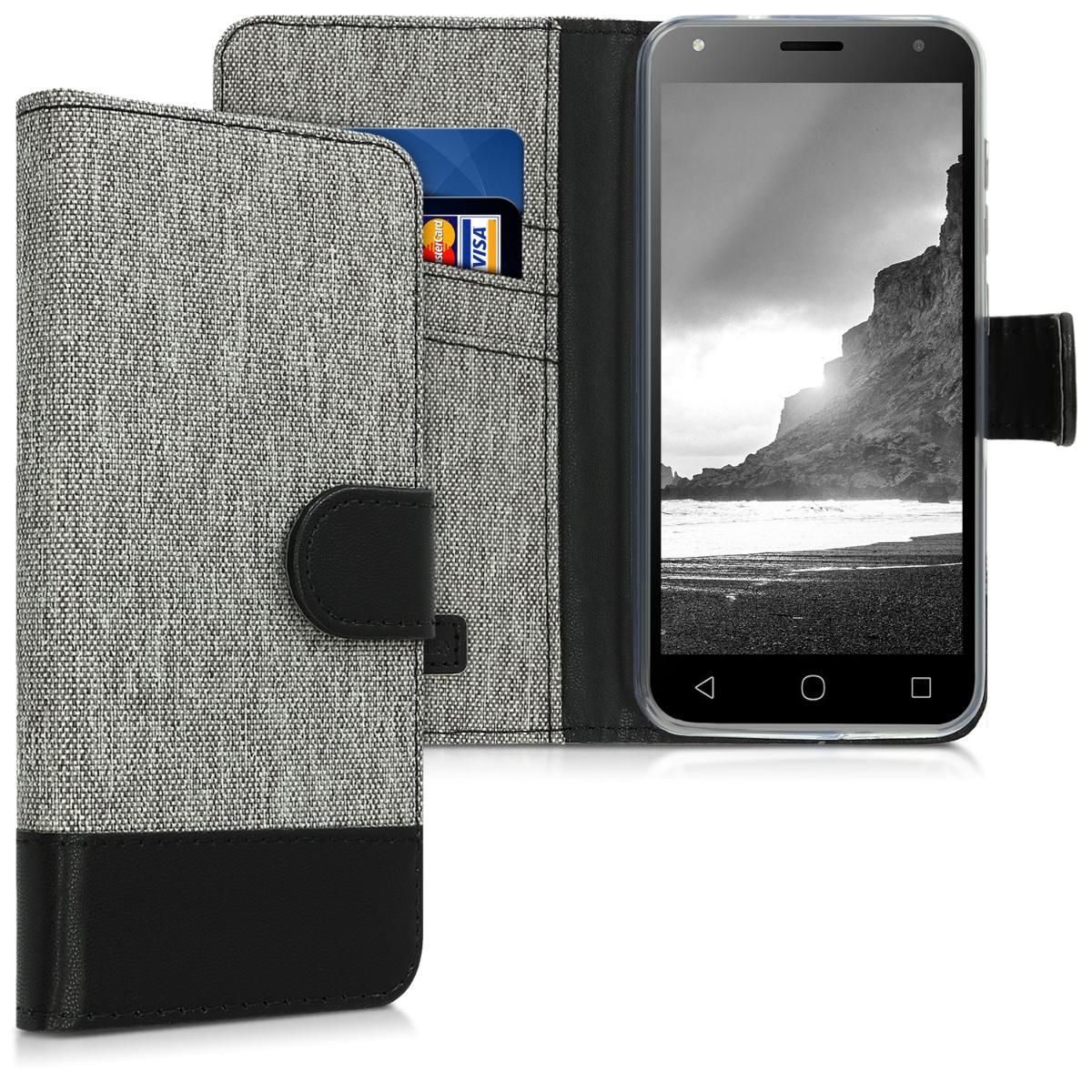 KW Θήκη Πορτοφόλι Alcatel 1 - Grey / Black Canvas (46362.22)