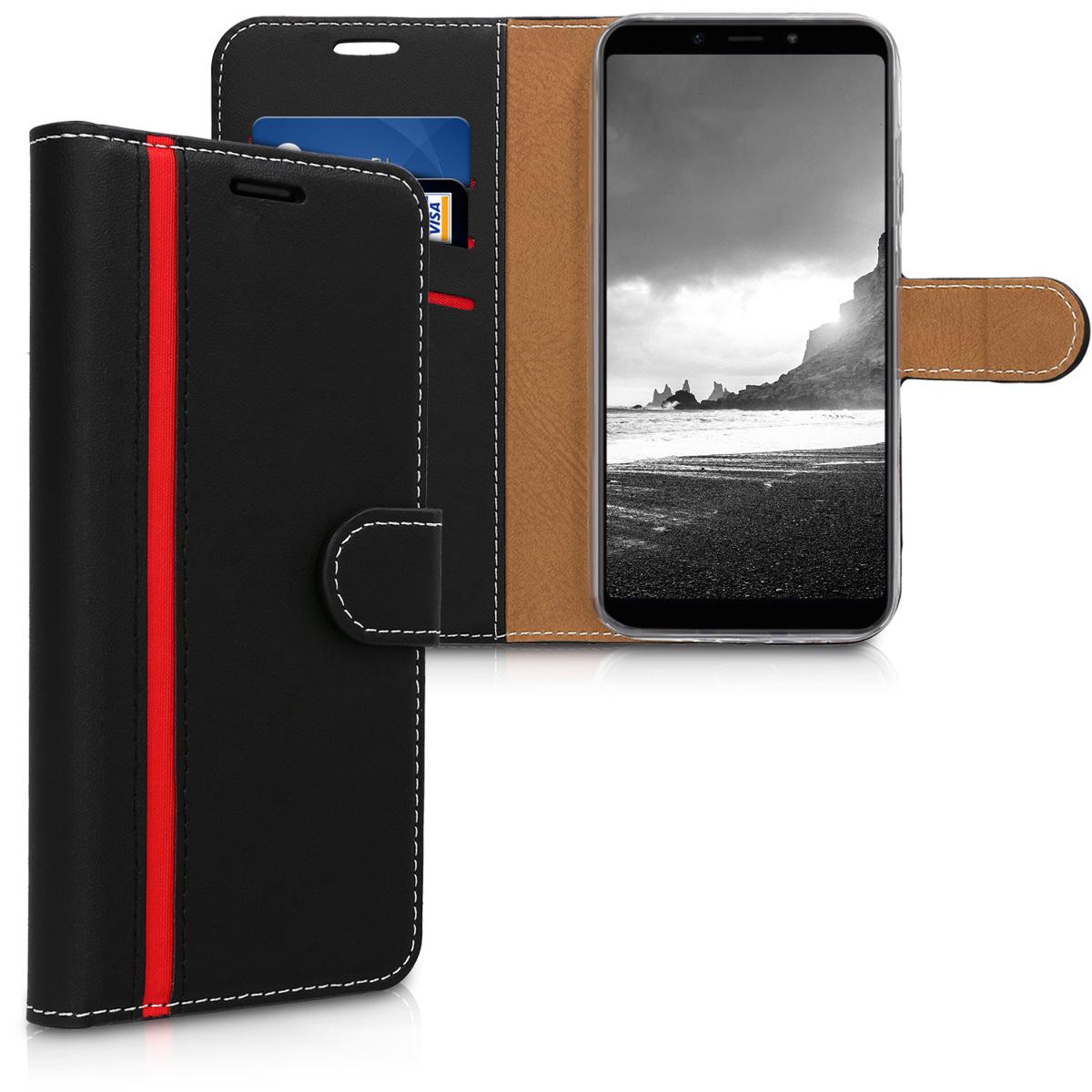 KW Θήκη - Πορτοφόλι Xiaomi Mi A2 Lite / Redmi 6 Pro - Black / Tan with Red Line (46367.01)