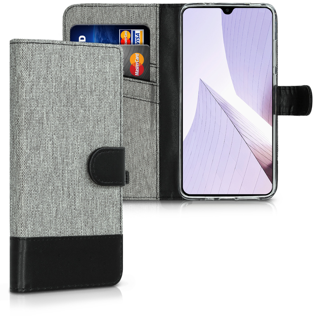 KW Θήκη - Πορτοφόλι Huawei Mate 20 - Grey / Black (46396.01)