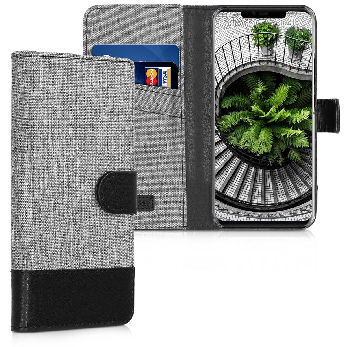 KW Θήκη Πορτοφόλι Huawei Mate 20 Pro - Συνθετικό Δέρμα - Grey / Black (46398.01)