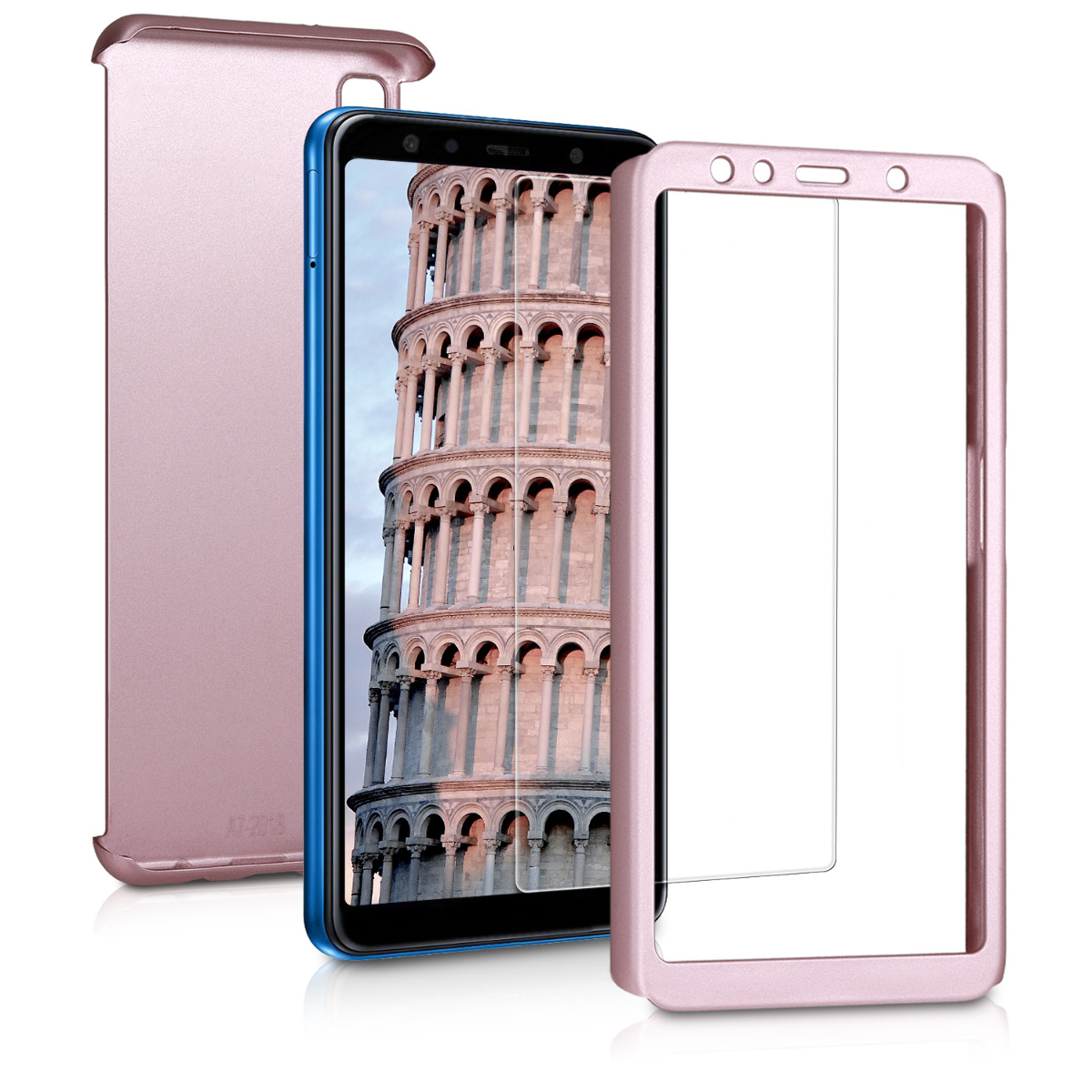 KW Θήκη Full Body Samsung Galaxy A7 2018 & Tempered Glass - Metallic Rose Gold (46423.31)