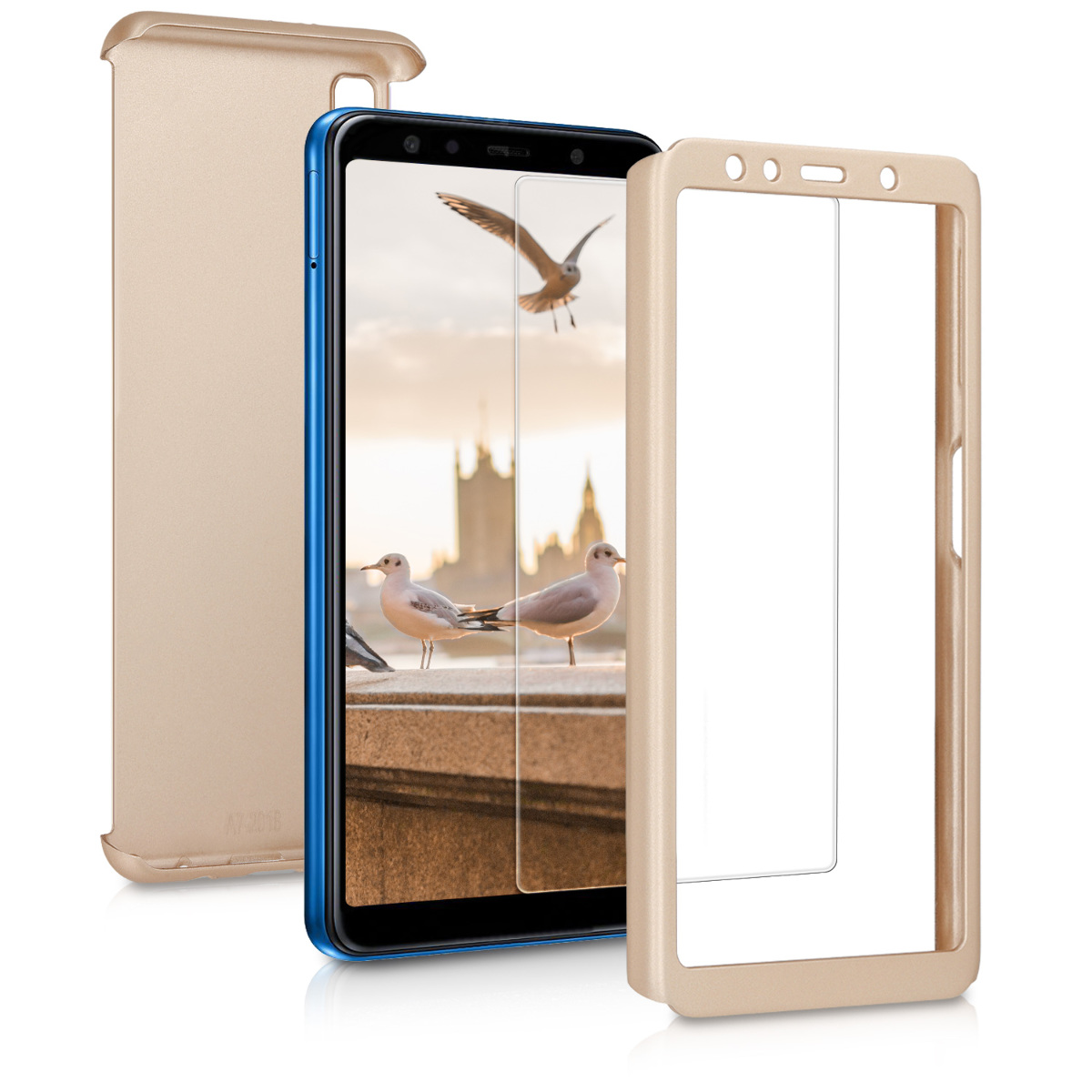 KW Θήκη Full Body with screen protector- Samsung Galaxy A7 (2018) - Metallic Gold (46423.66)