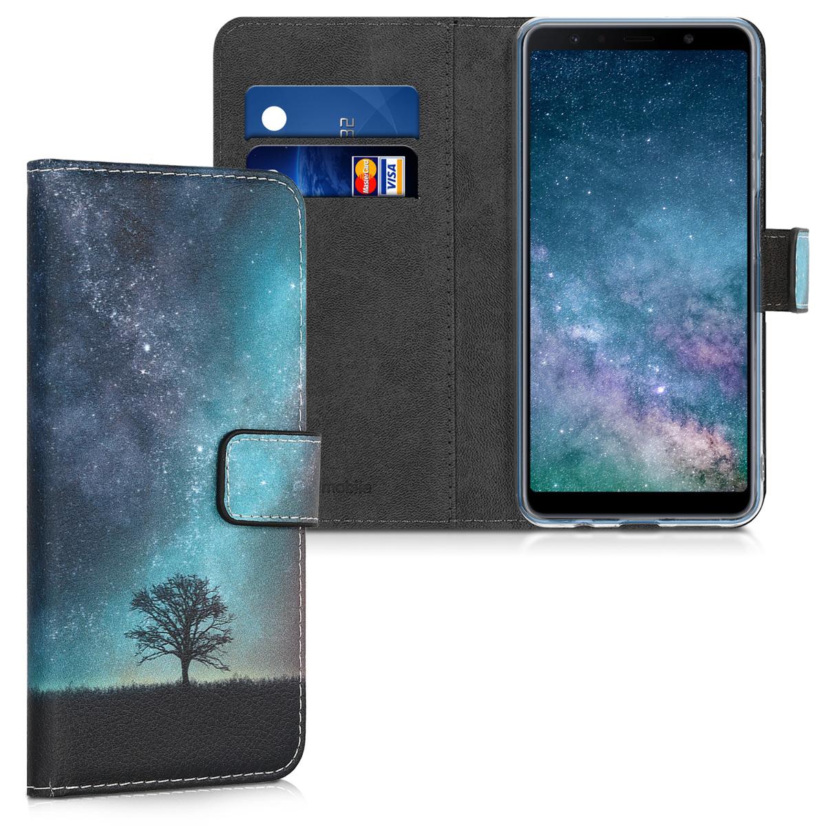 KW Θήκη Πορτοφόλι Samsung Galaxy A7 (2018) - Blue / Grey / Black (46427.02)