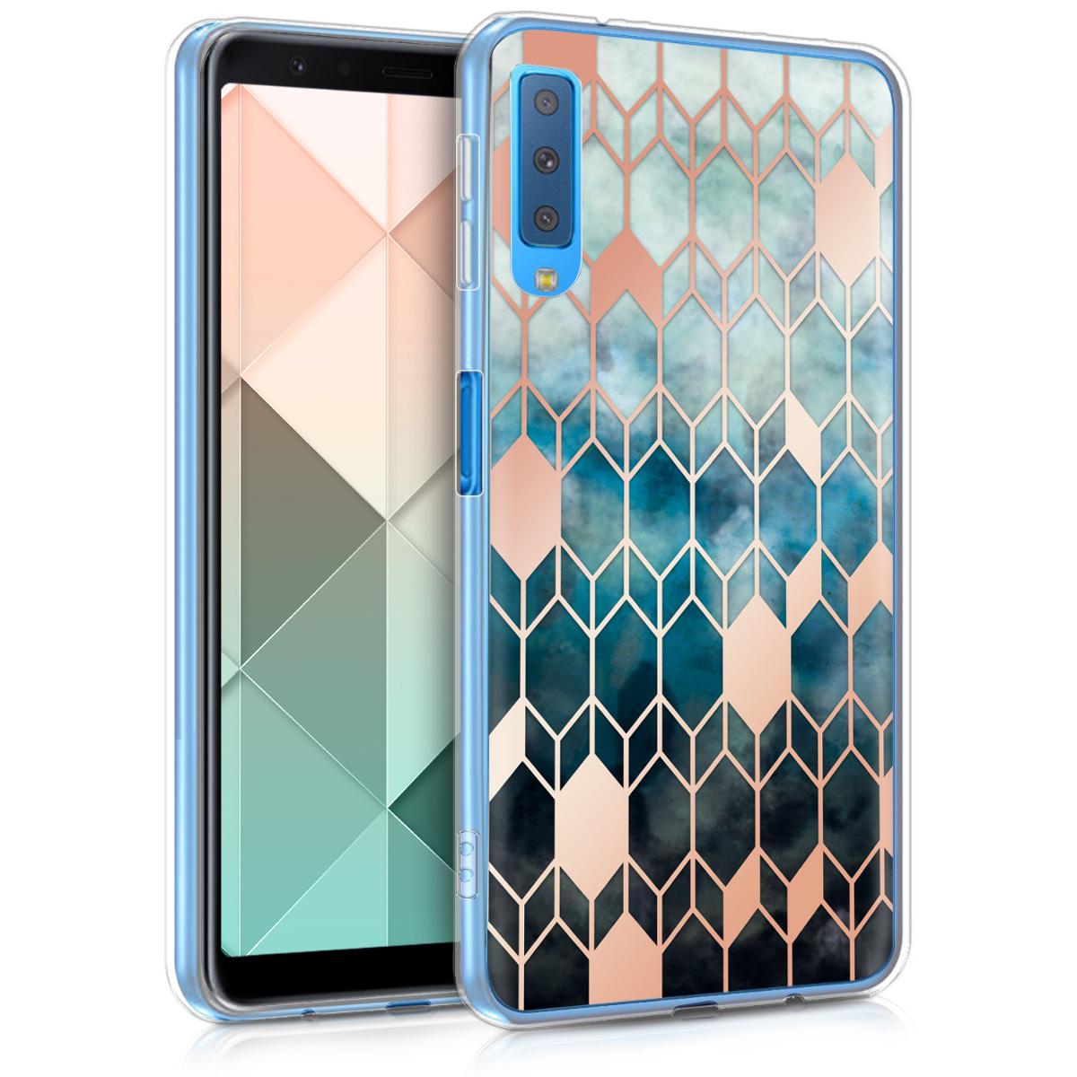 KW Θήκη Σιλικόνης Samsung Galaxy A7 2018 - Blue / Rose Gold (46429.02)