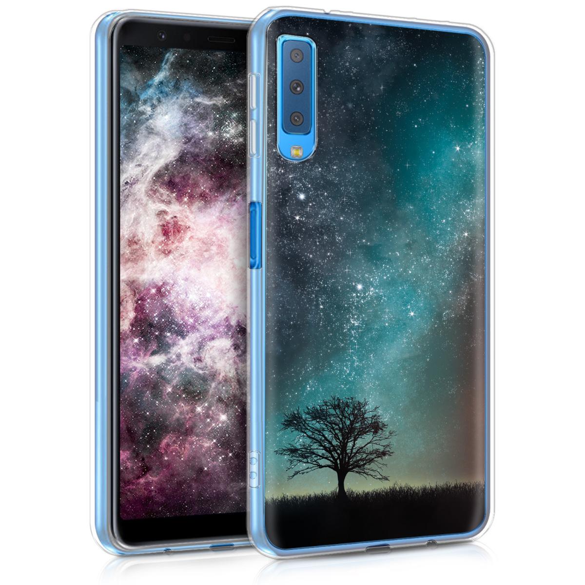 KW Θήκη Σιλικόνης Samsung Galaxy A7 (2018) - Blue / Grey / Black (46429.07)