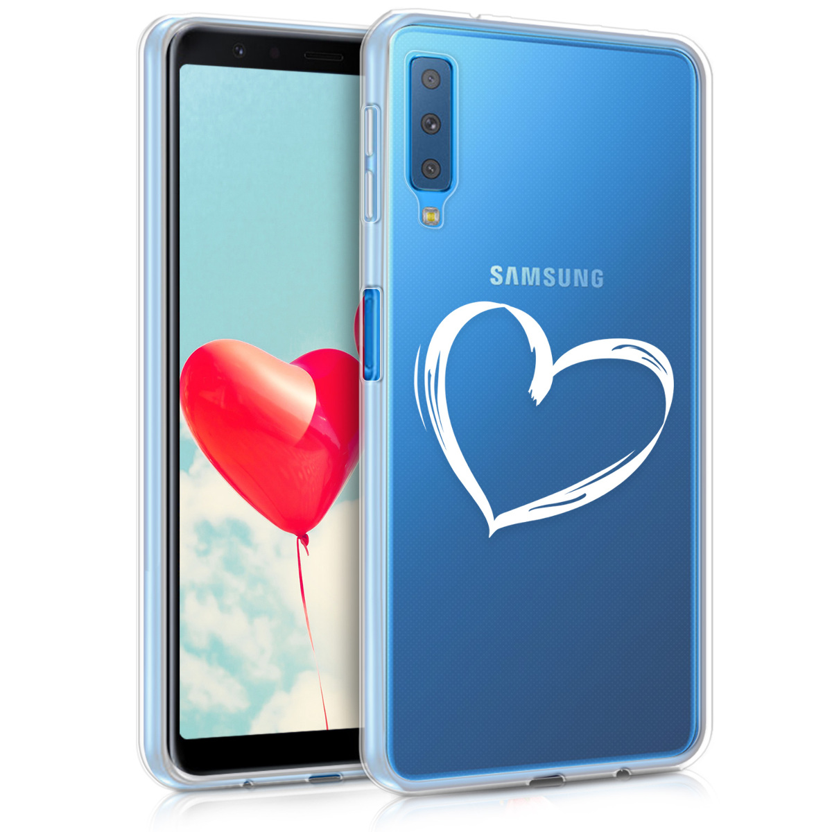 KW Διάφανη Θήκη Σιλικόνης Samsung Galaxy A7 2018 - Heart Design (46430.05)
