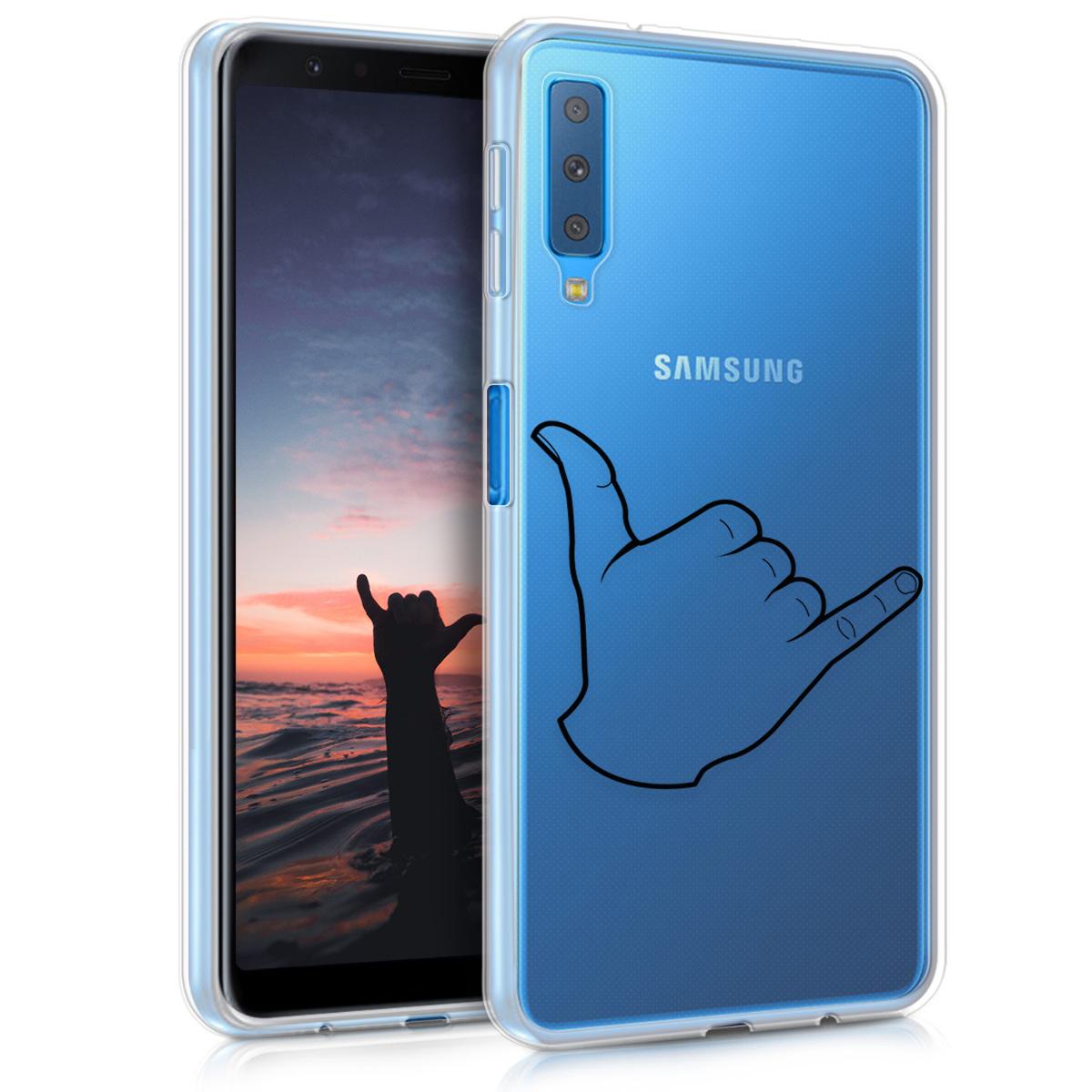 KW Θήκη Σιλικόνης Samsung Galaxy A7 2018 - Transparent / Black (46430.06)