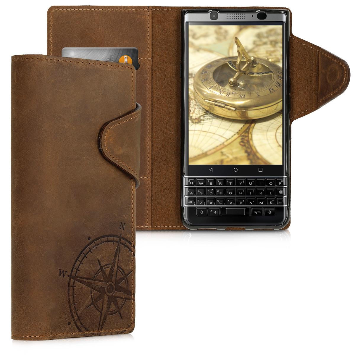 Kalibri Δερμάτινη Suede Θήκη - Πορτοφόλι Blackberry Keyone - Brown (46464.01)