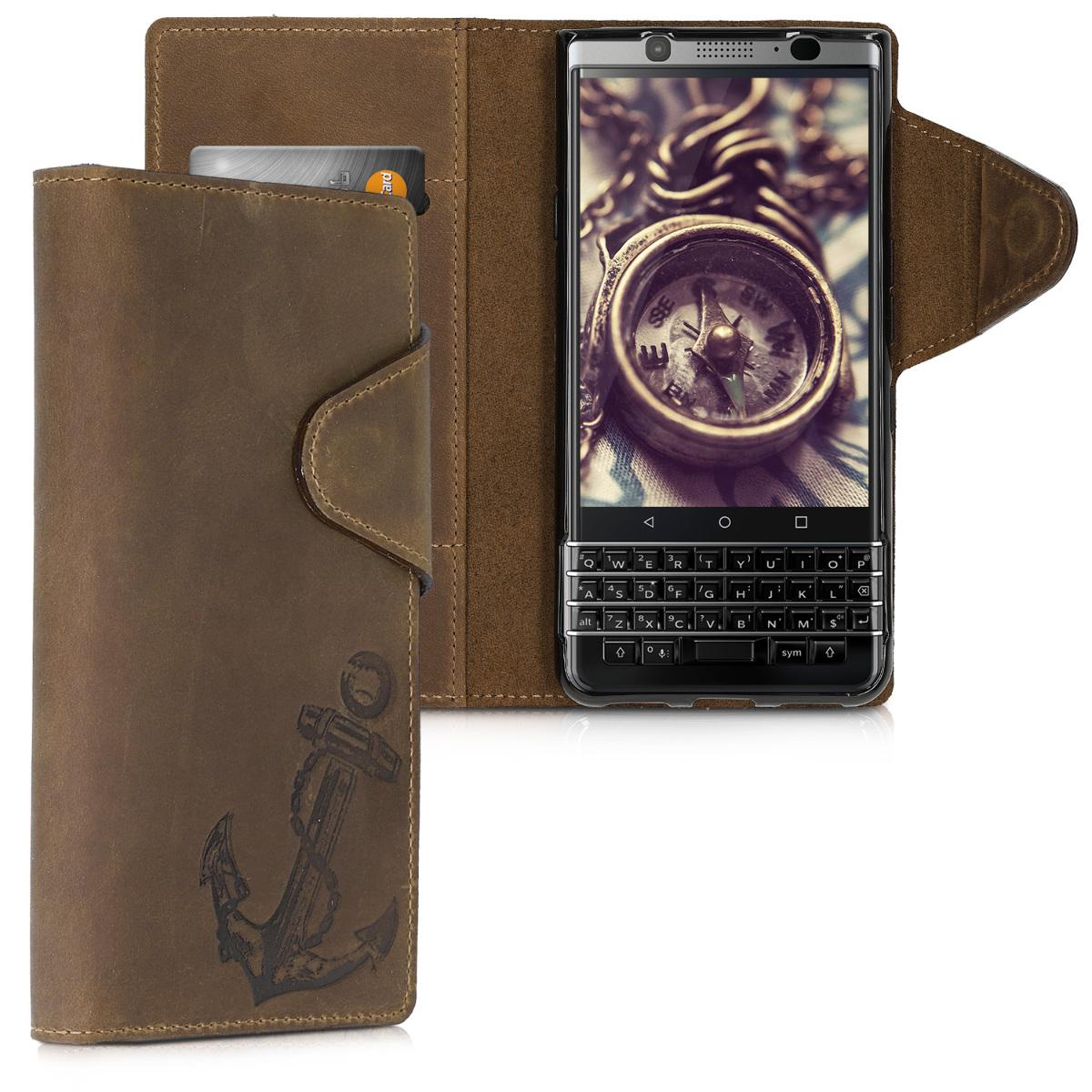 Kalibri Δερμάτινη Suede Θήκη- Πορτοφόλι Blackberry KEYone (Key1) - Brown (46464.02)