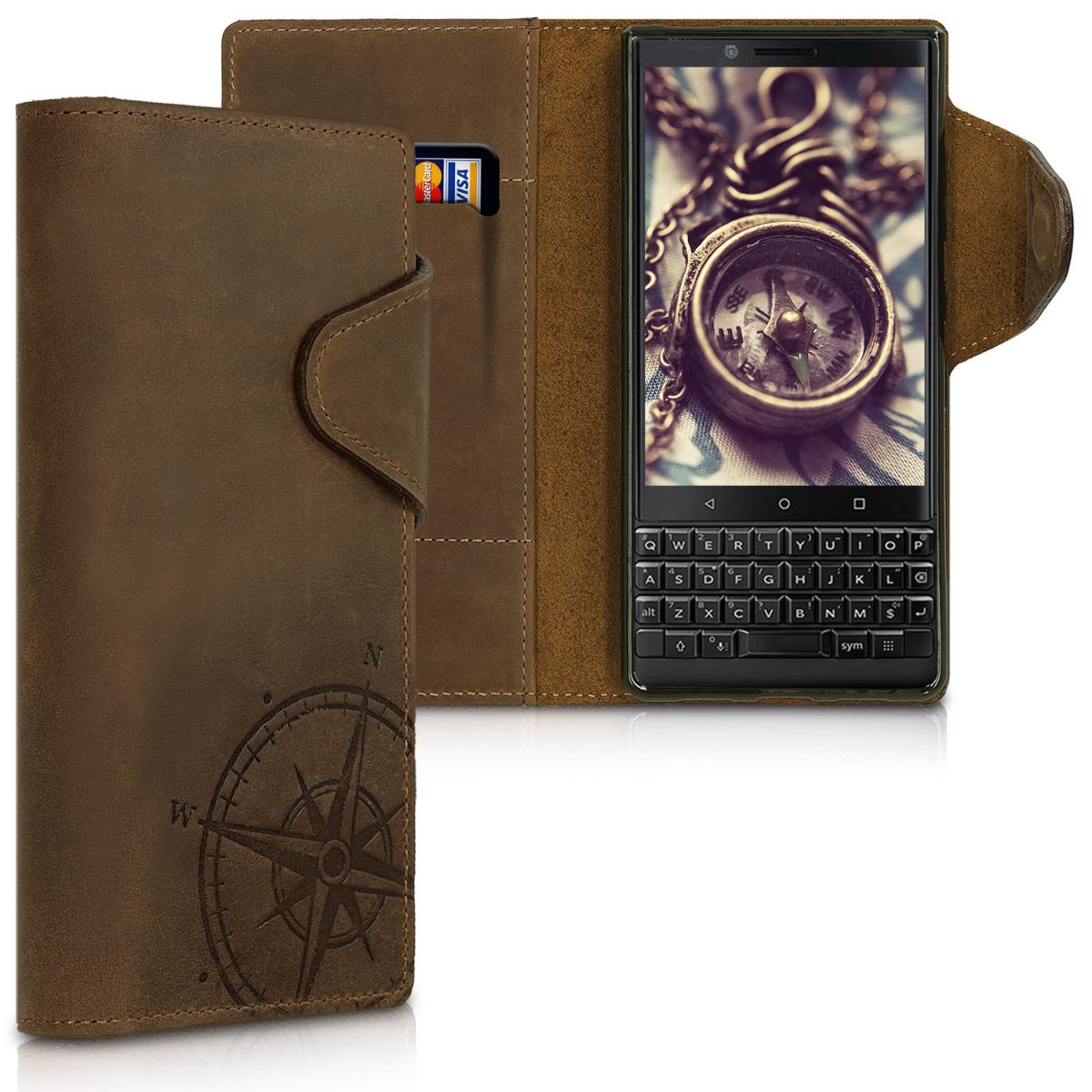 Kalibri Δερμάτινη Suede Θήκη - Πορτοφόλι Blackberry KEY2 - Brown Compass (46466.01)