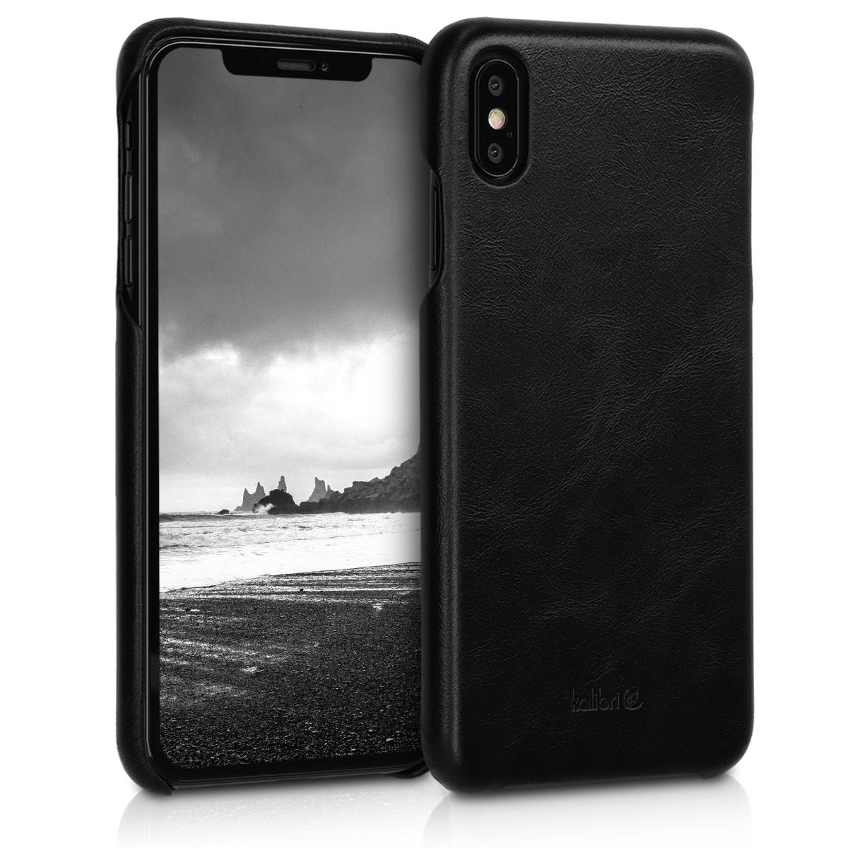 Kalibri Σκληρή Δερμάτινη Θήκη iPhone XS Max - Black (46470.01)