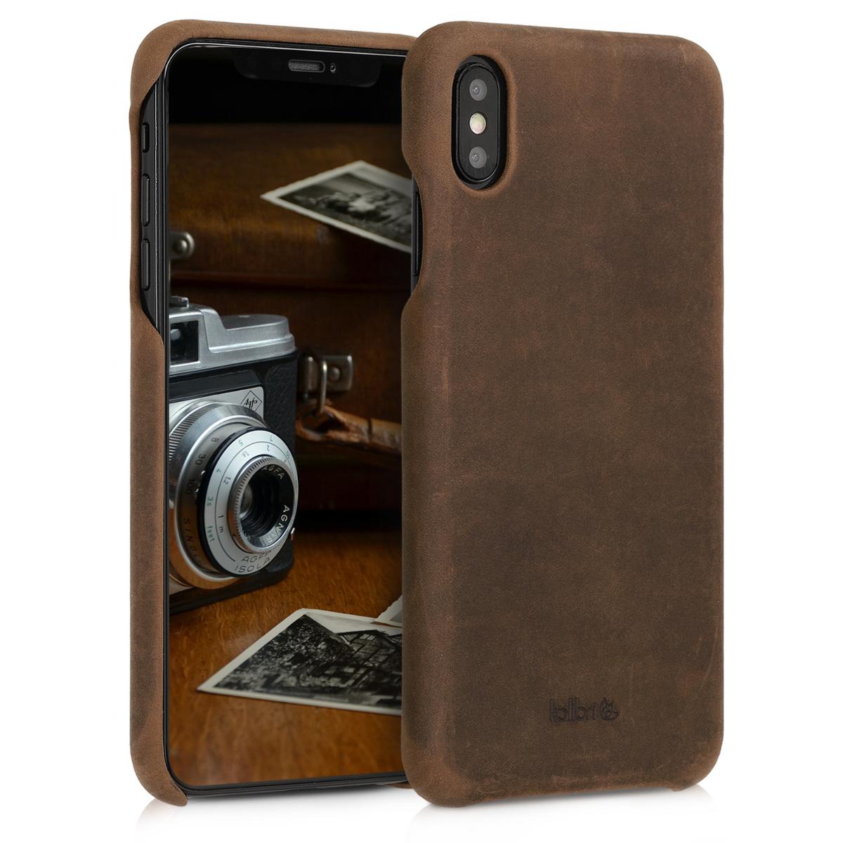 Kalibri Σκληρή Δερμάτινη Θήκη iPhone XS Max - Καφέ (46470.05)