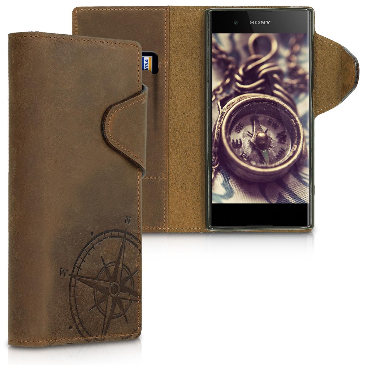 Kalibri Δερμάτινη Suede Θήκη - Πορτοφόλι Sony Xperia XA1 Plus - Brown Compass (46475.01)