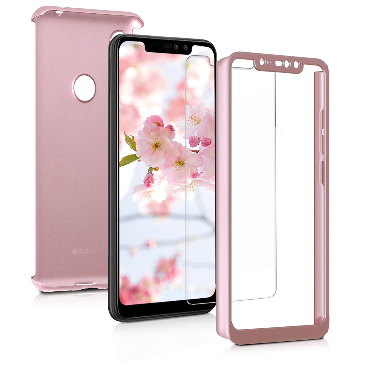 KW Θήκη Full Body για Xiaomi Redmi Note 6 Pro & Tempered Glass - Metallic Rose Gold (46507.31)