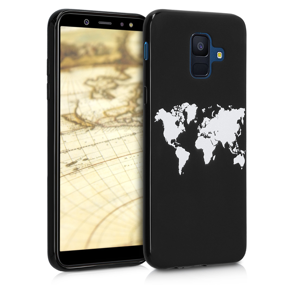 KW Θήκη Σιλικόνης Samsung Galaxy A6 (2018) - Soft Flexible Shock Absorbent - White / Black (46527.03)