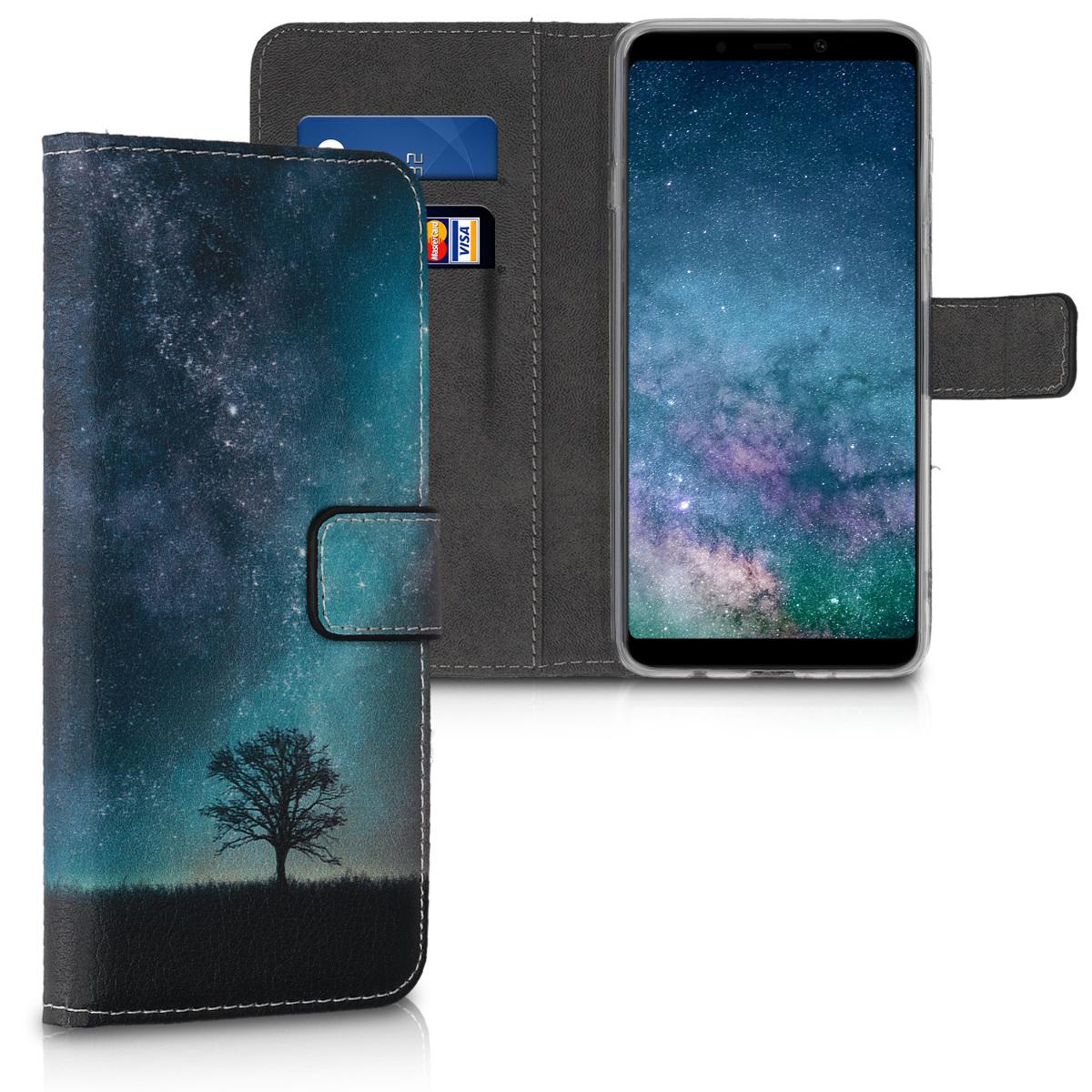 KW Θήκη Πορτοφόλι Samsung Galaxy A9 (2018) - Blue / Grey / Black (46586.02)