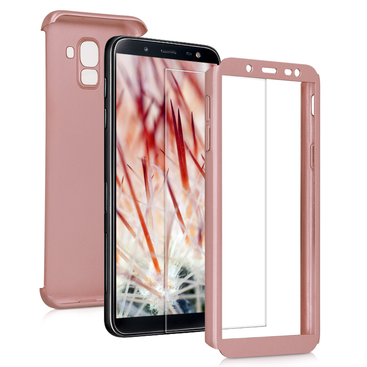 KW Θήκη Full Body Samsung Galaxy J6 (2018) & Tempered Glass - Metallic Rose Gold (46591.31)