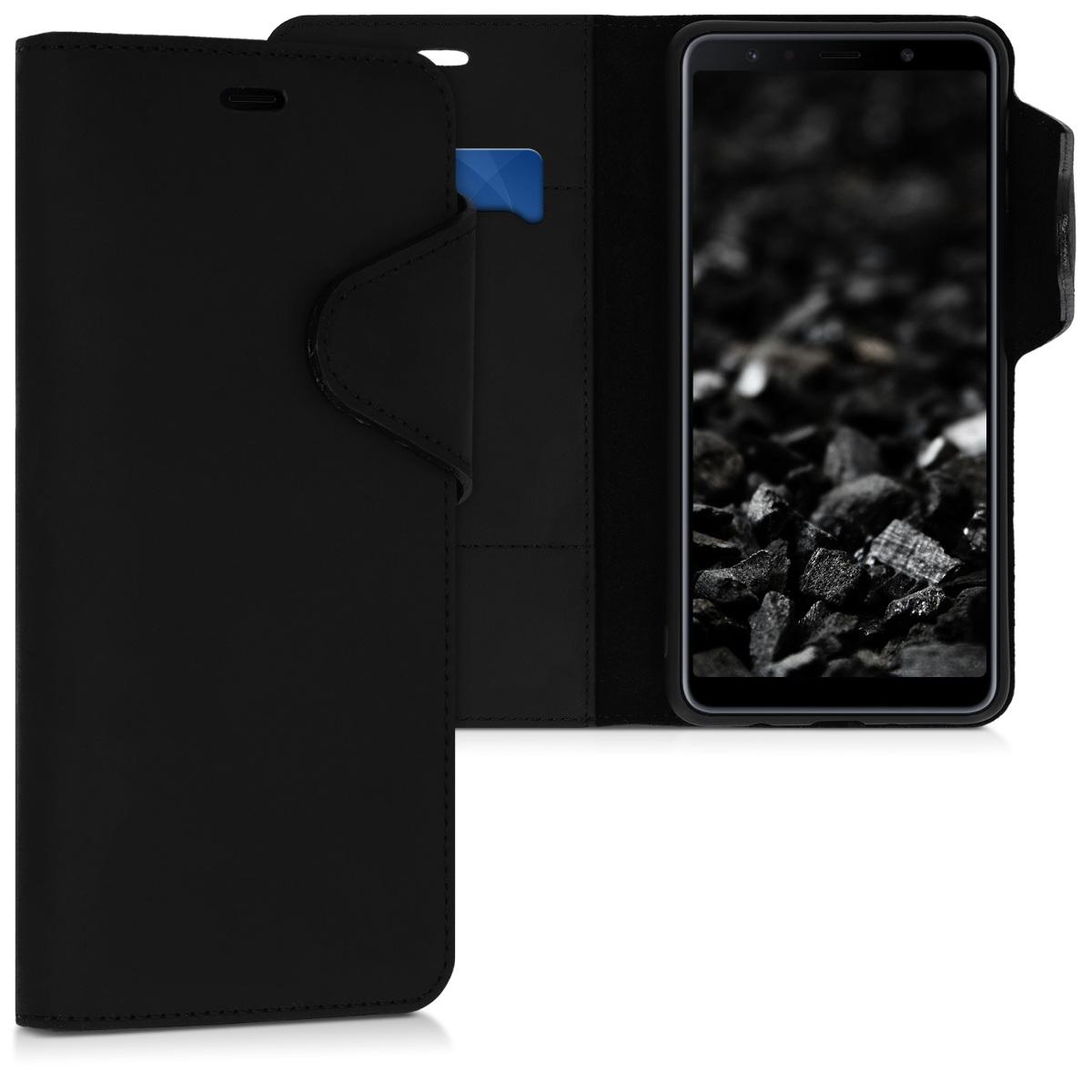 Kalibri Δερμάτινη Suede Θήκη - Πορτοφόλιr Samsung Galaxy A7 (2018)  - Black (46602.01)