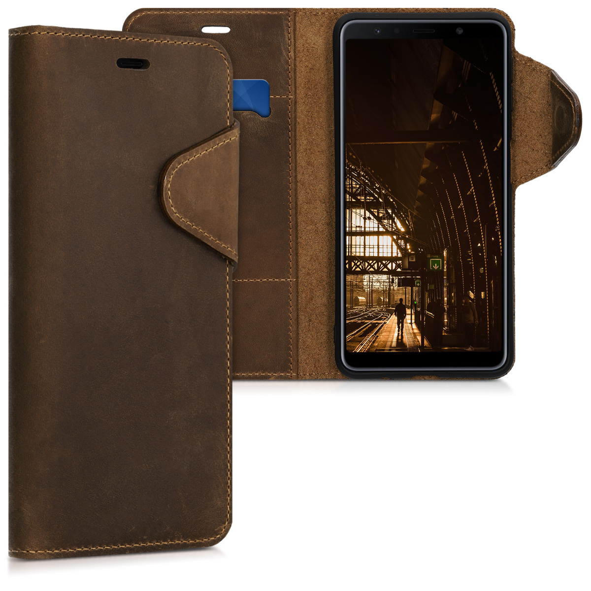 Kalibri Δερμάτινη Suede Θήκη - Πορτοφόλι  Samsung Galaxy A7 (2018) -  Brown (46602.05)