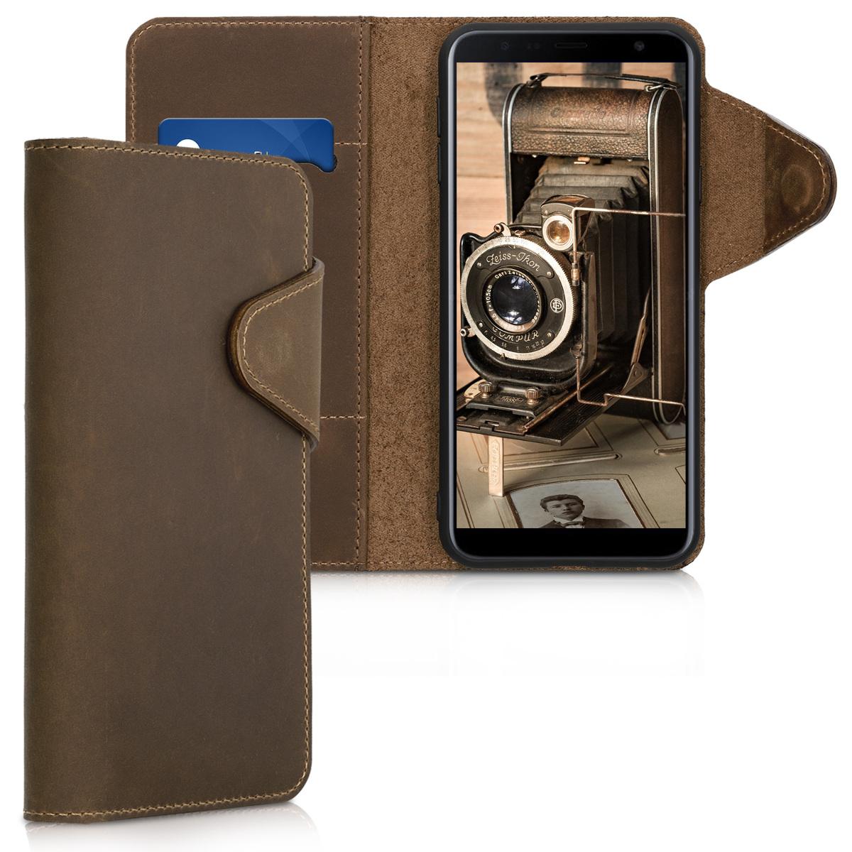 Kalibri Δερμάτινη Suede Θήκη - Πορτοφόλι Samsung Galaxy J4 Plus - Brown (46603.05)