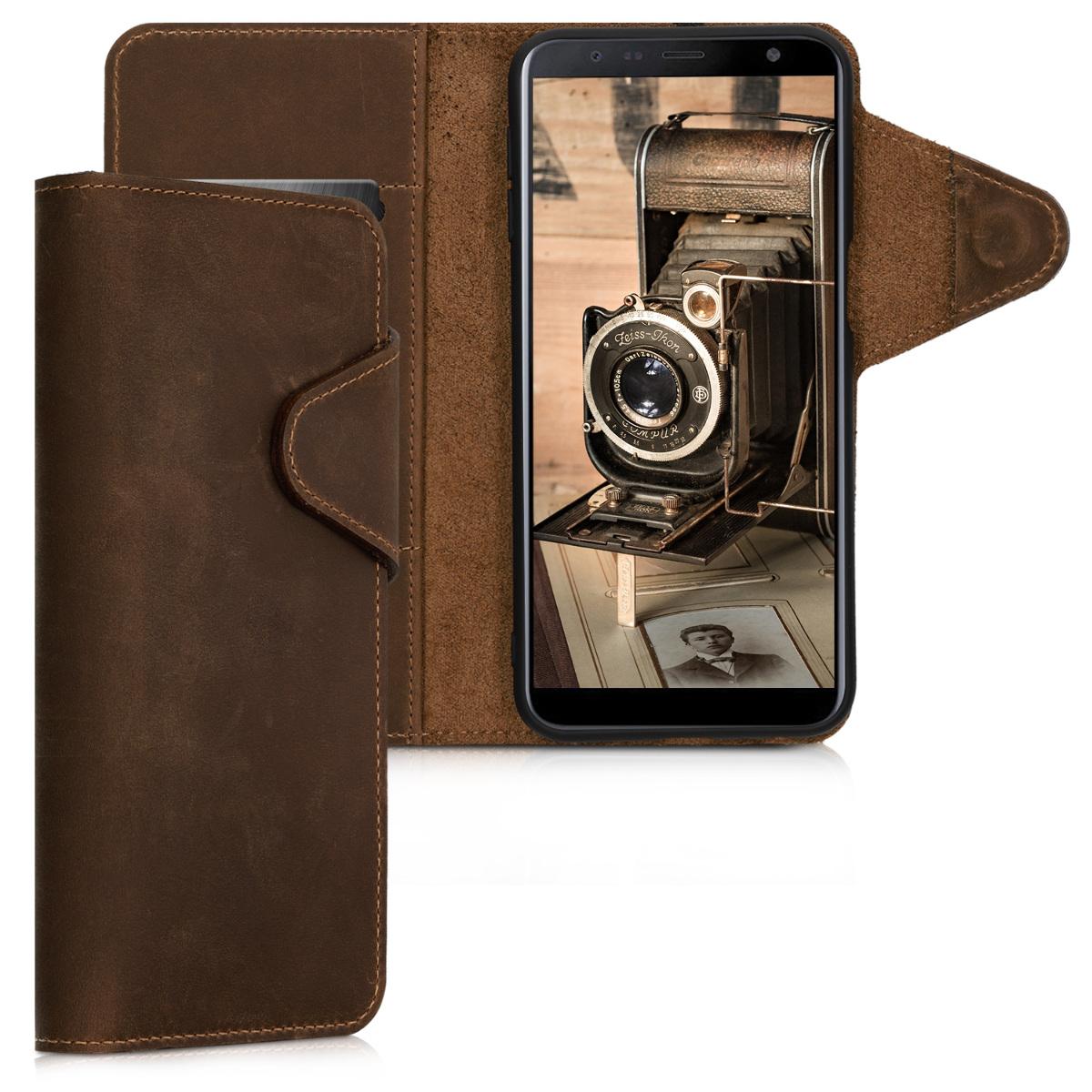 Kalibri Δερμάτινη Suede Θήκη - Πορτοφόλι Samsung Galaxy J6 Plus - Καφέ (46604.05)