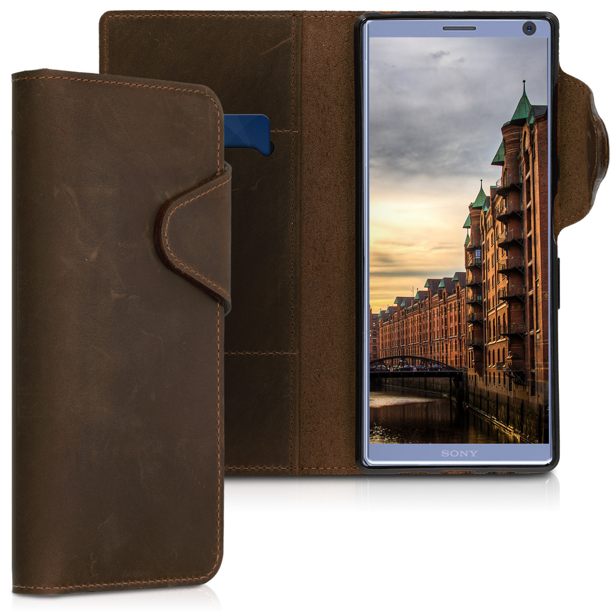 Kalibri Δερμάτινη Suede Θήκη - Πορτοφόλι Sony Xperia XA3 Ultra - Καφέ (46613.05)
