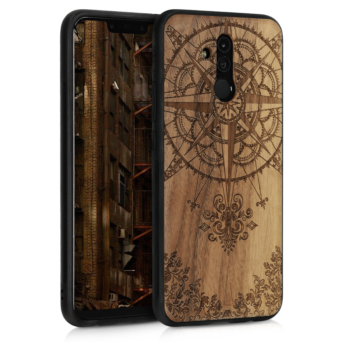 KW Σκληρή Ξύλινη Θήκη Huawei Mate 20 Lite - TPU - Baroque Compass (46637.01)