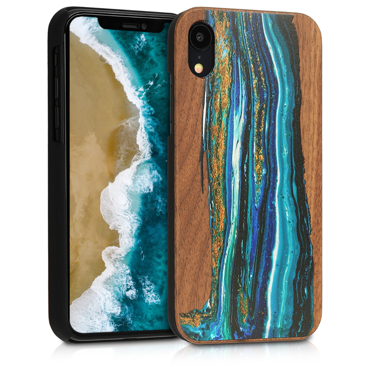KW Ξύλινη Θήκη iPhone XR - Brown Blue Waves (46660.01)