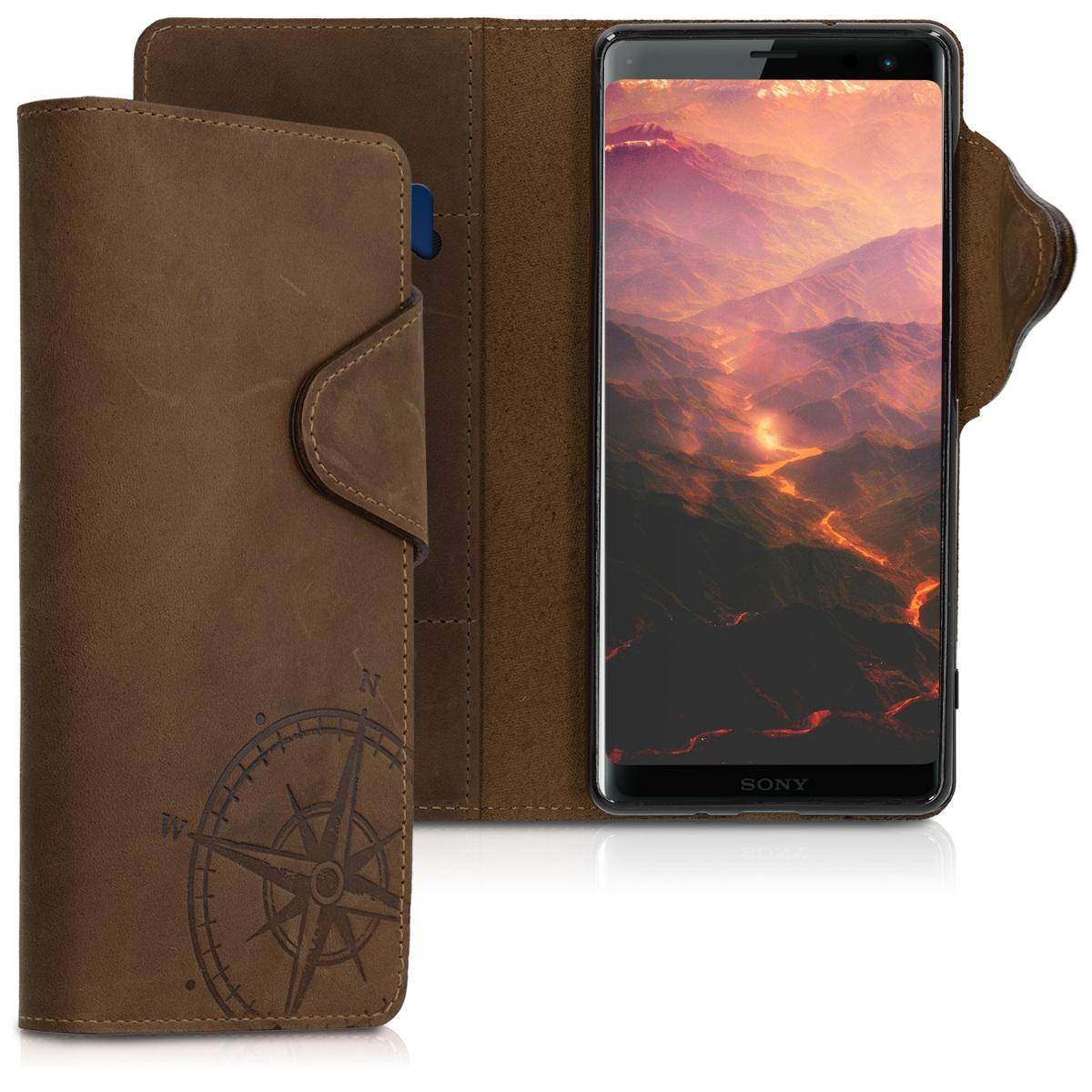 Kalibri Δερμάτινη Suede Θήκη - Πορτοφόλι Sony Xperia XZ3 - Brown Compass (46668.01)