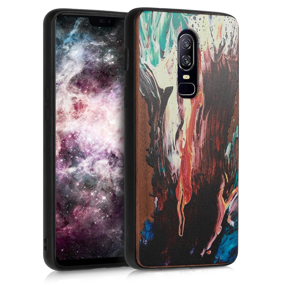 KW Σκληρή ξύλινη θήκη OnePlus 6 -  Watercolor Waves (46684.04)