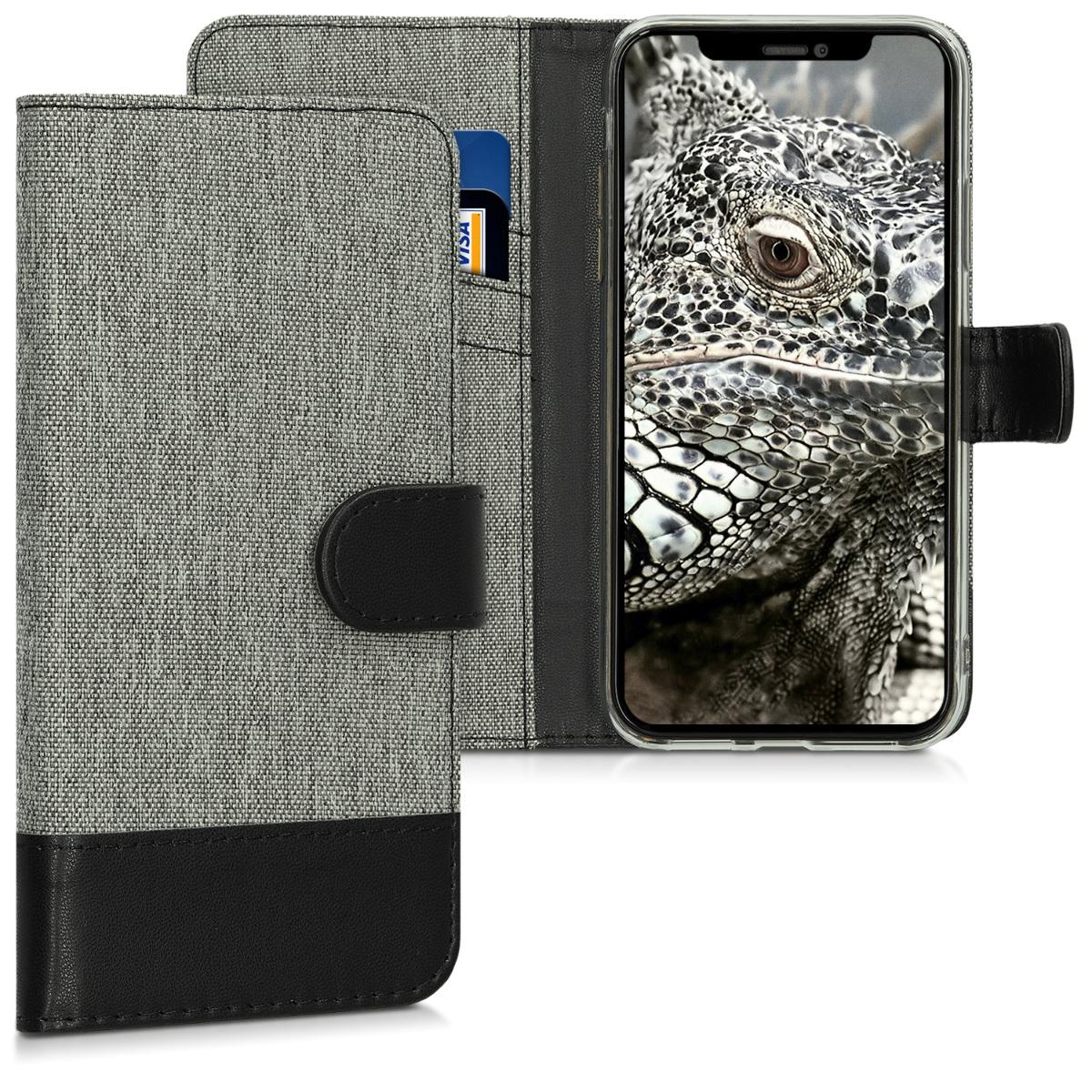 KW Θήκη Πορτοφόλι Apple iPhone XR - Συνθετικό δέρμα - Grey / Black (46688.01)