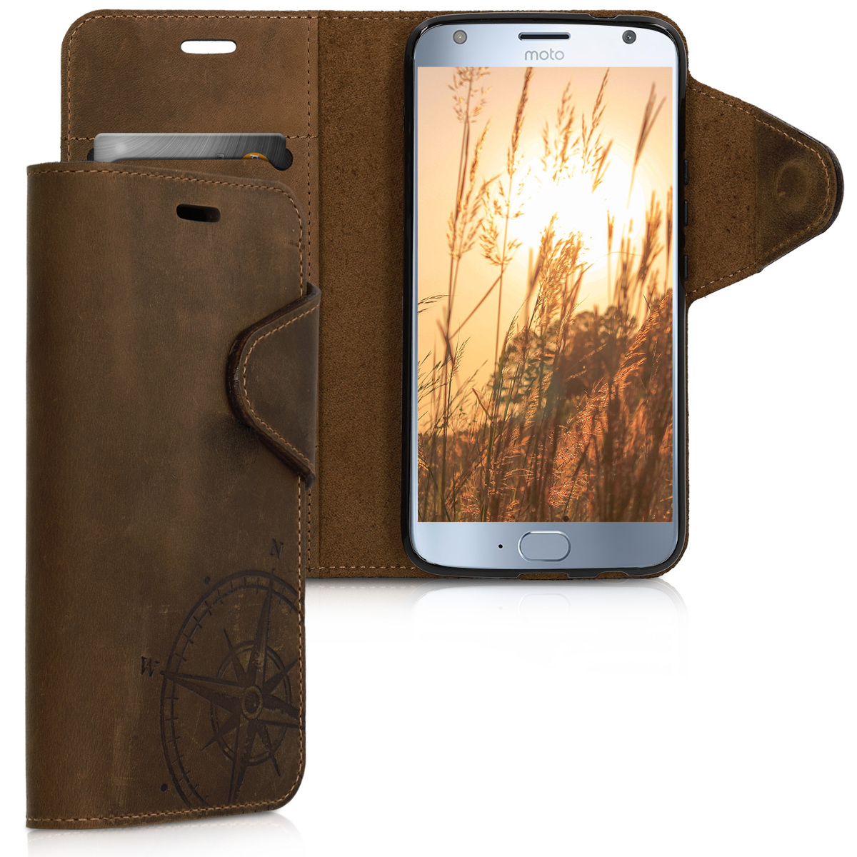 Kalibri Θήκη - Πορτοφόλι Motorola Moto X4 - Brown Compass (46703.01)