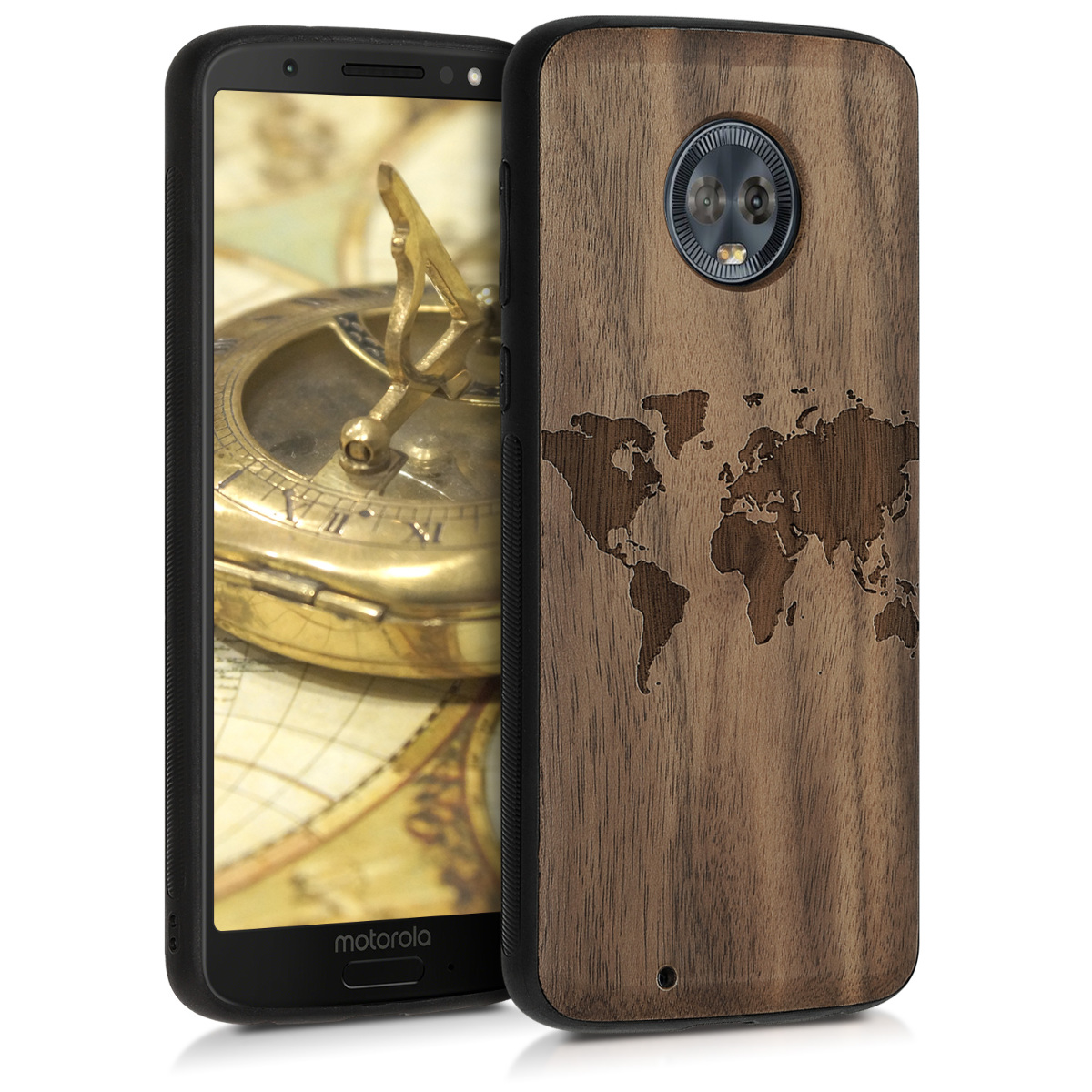 KW Ξύλινη Θήκη Motorola Moto G6 - Παγκόσμιος χάρτης (46716.01)