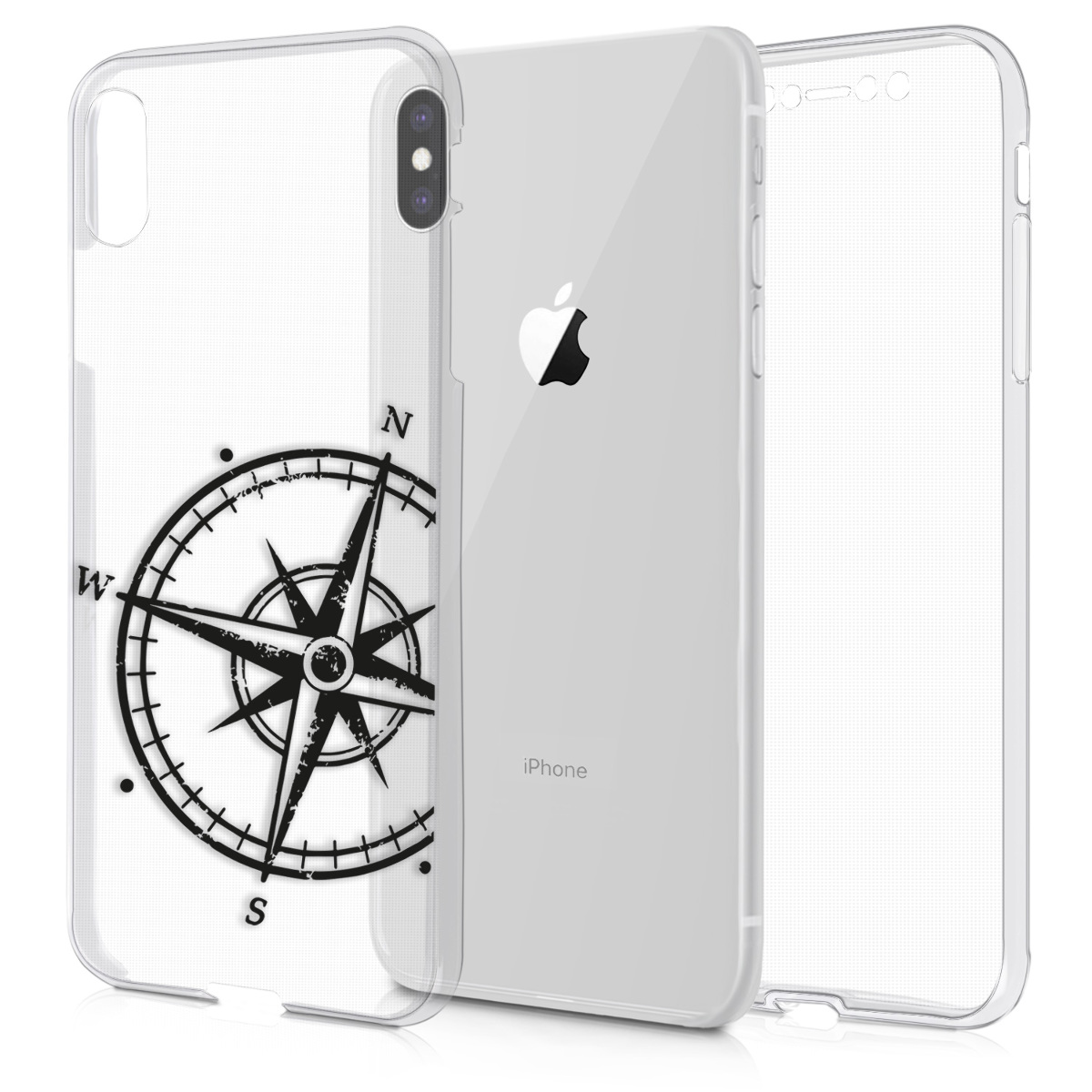 KW Διάφανη Θήκη Σιλικόνης Full Body iPhone XS Max - Μαύρη Πυξίδα (46732.01)