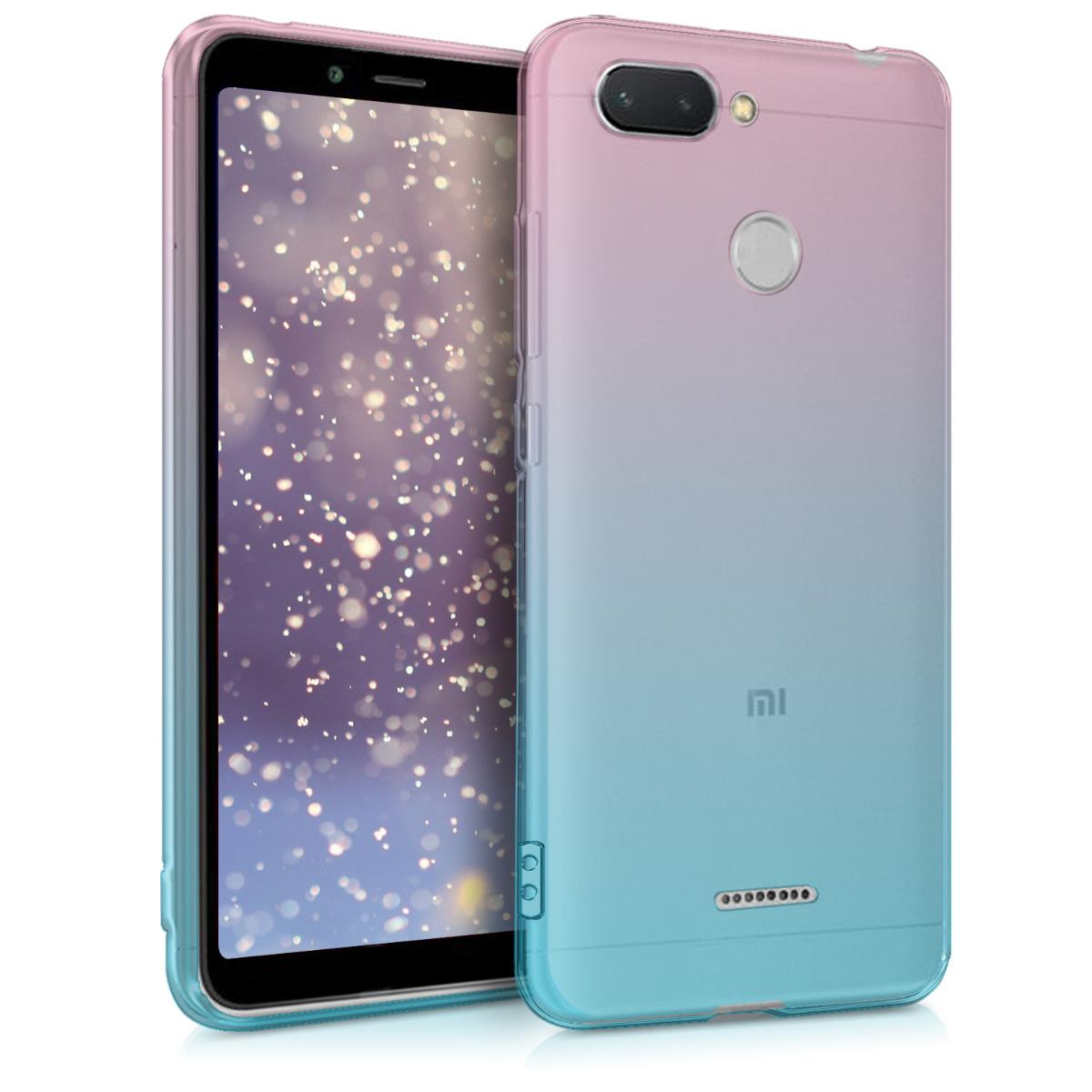 KW Θήκη Σιλικόνης Ημιδιάφανη Xiaomi Redmi 6 - Dark Pink Blue Transparent (46740.01)